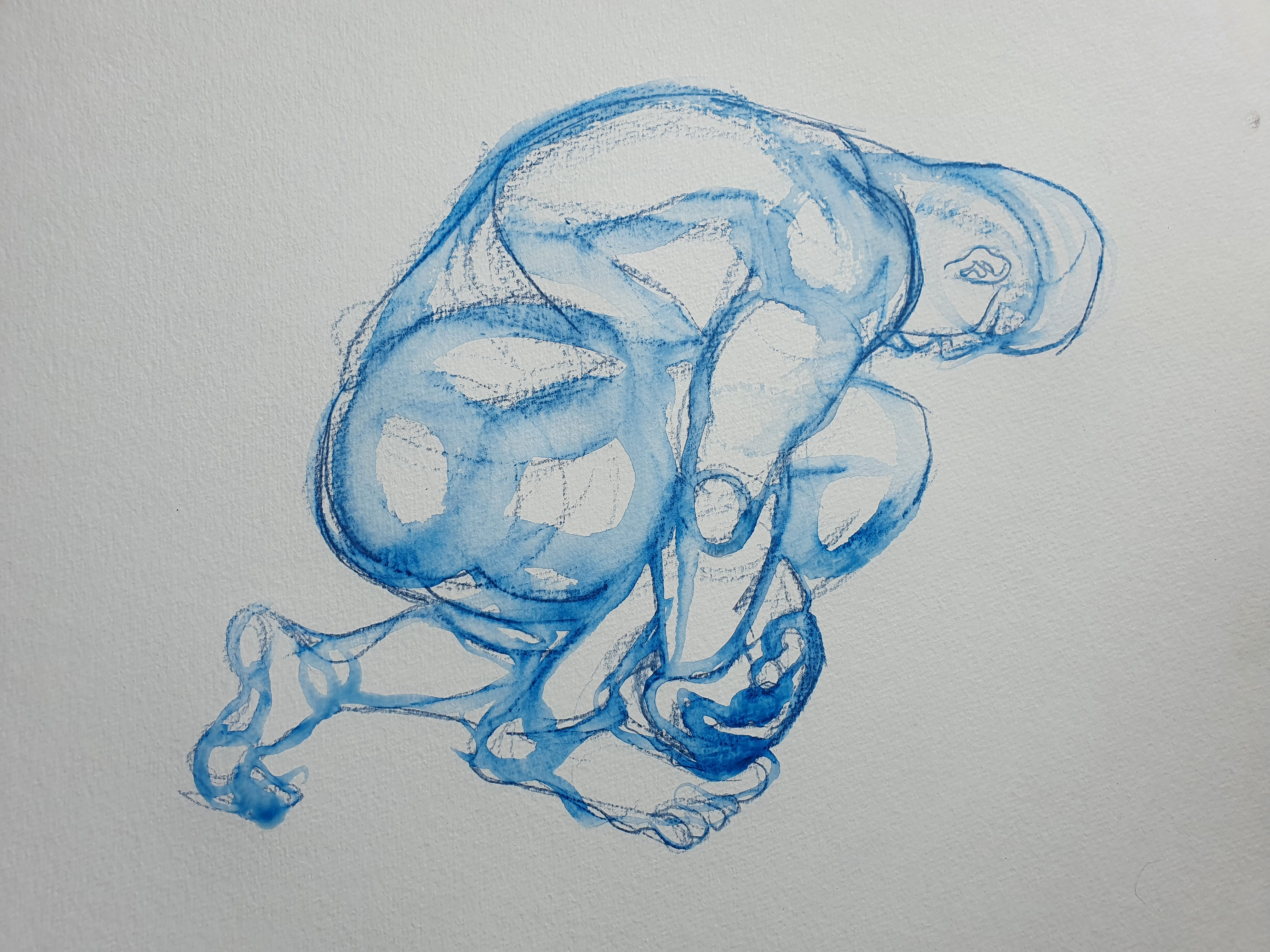 Dessin technique mixte bleu pose groupée homme aquarelle sur papier  cours de dessin