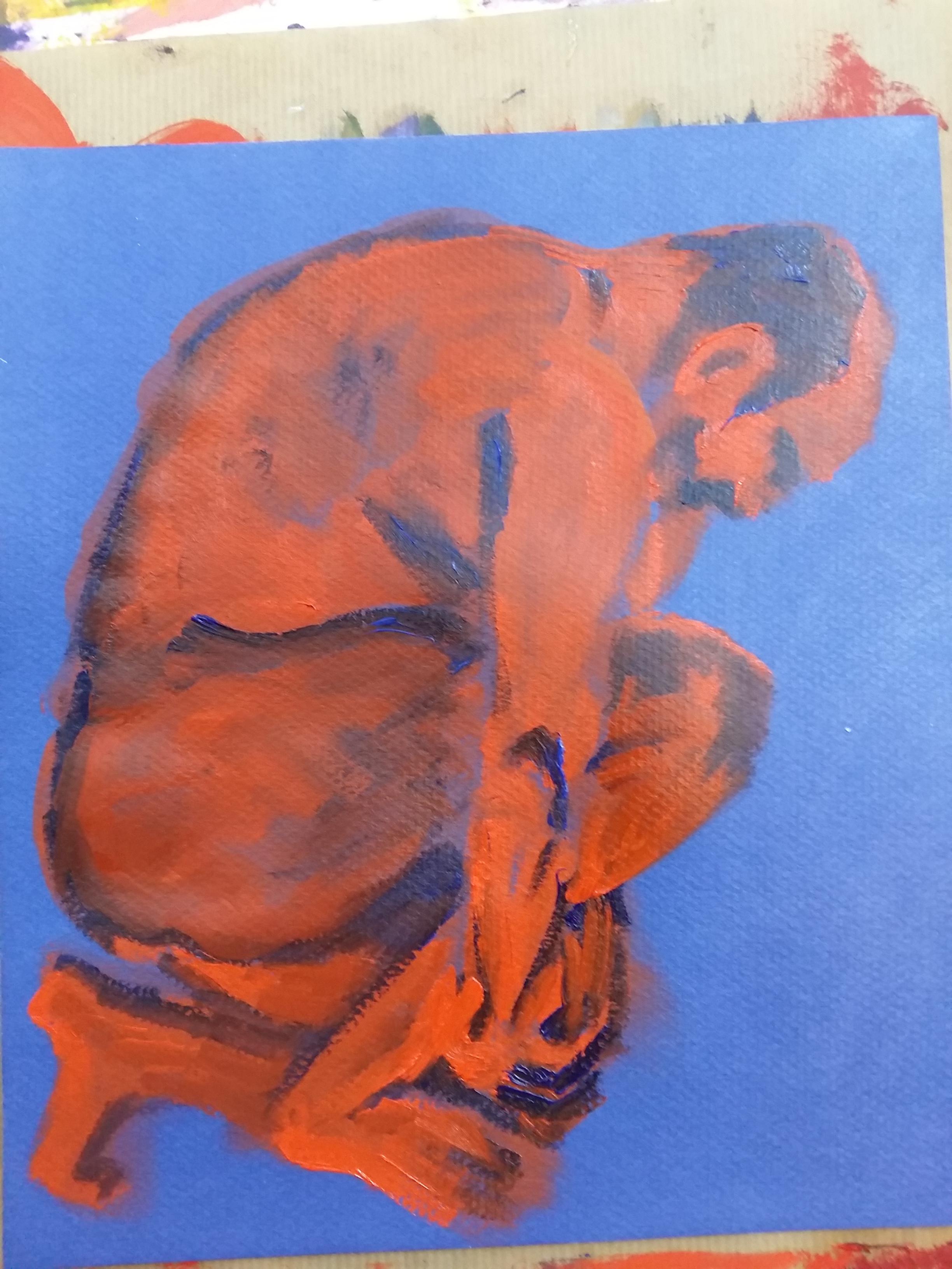 Peinture homme poses regroupées sur papier bleu corps orange et bleu  cours de dessin