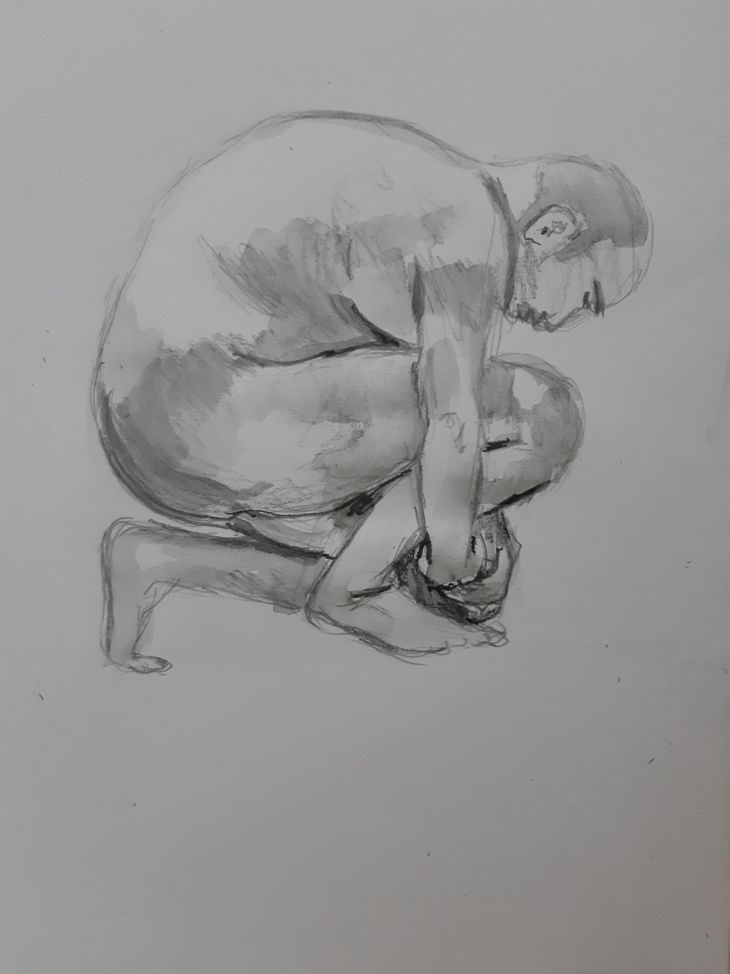 Dessin mod�le vivant homme poses regroup�es profil techniques mixtes encre de Chine crayon papier  cours de dessin