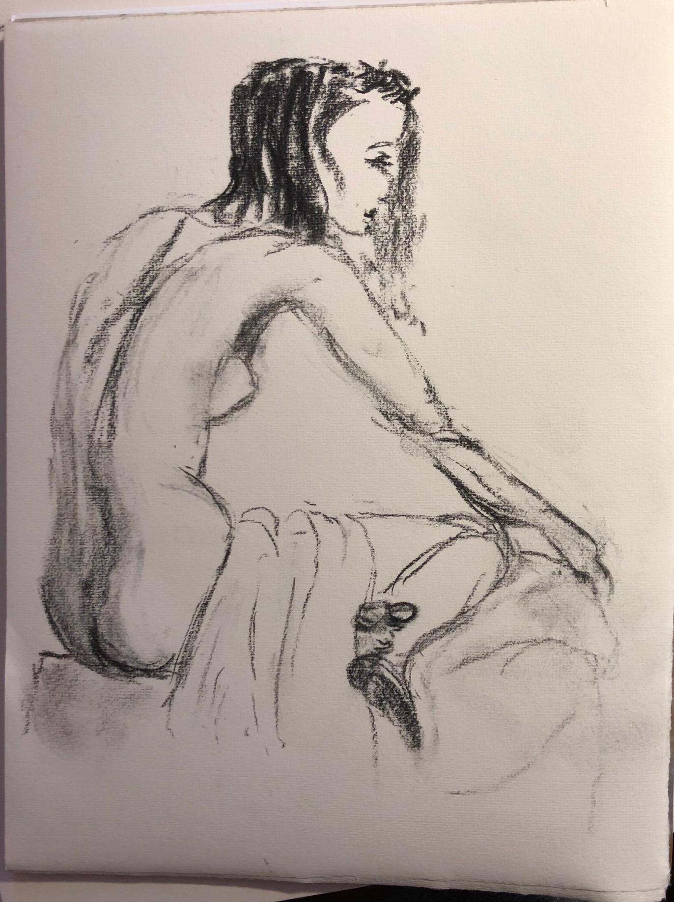 Trois quarts dos fusain drapé  femme dessin  cours de dessin