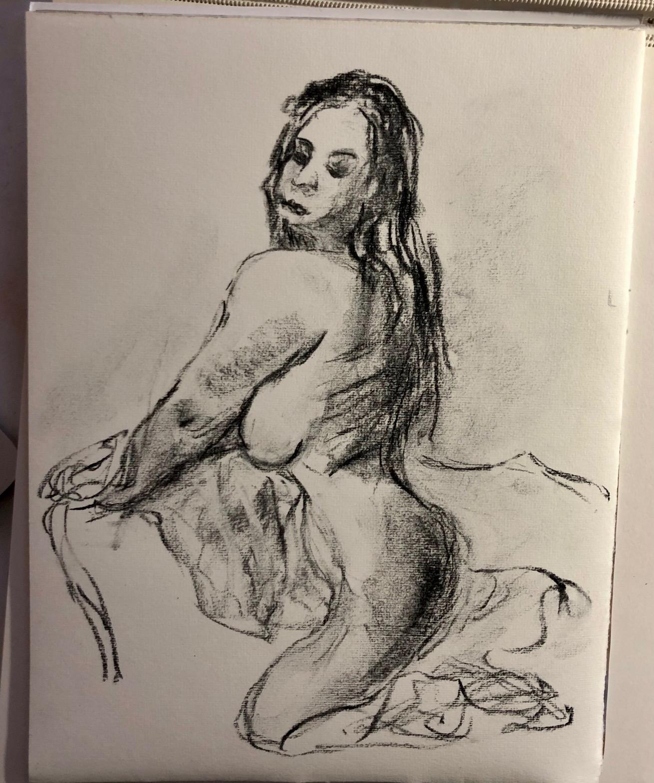 Trois quarts dos femme assise fusain sur papier  cours de dessin