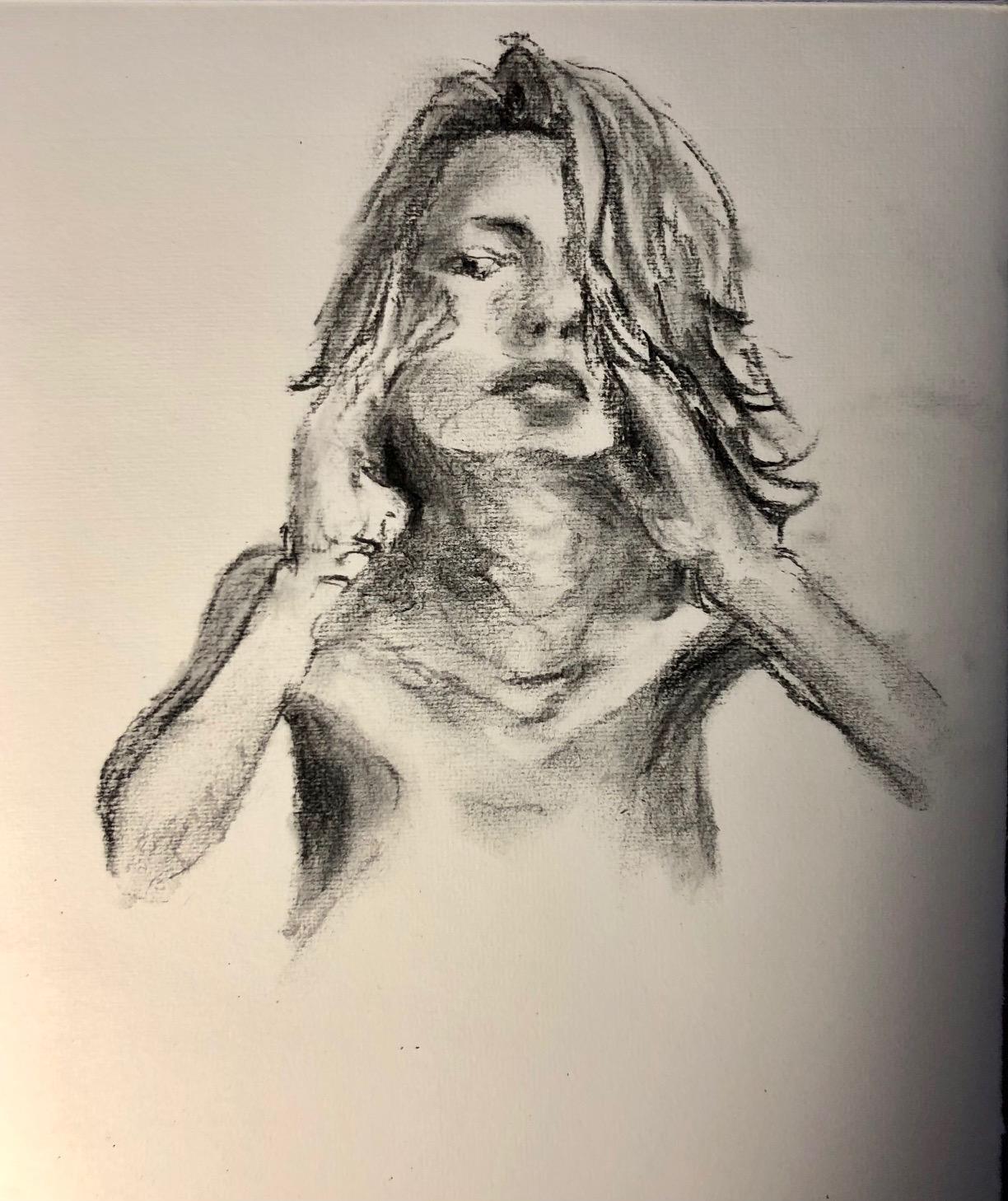 Portrait fusain estompe sur papier  cours de dessin