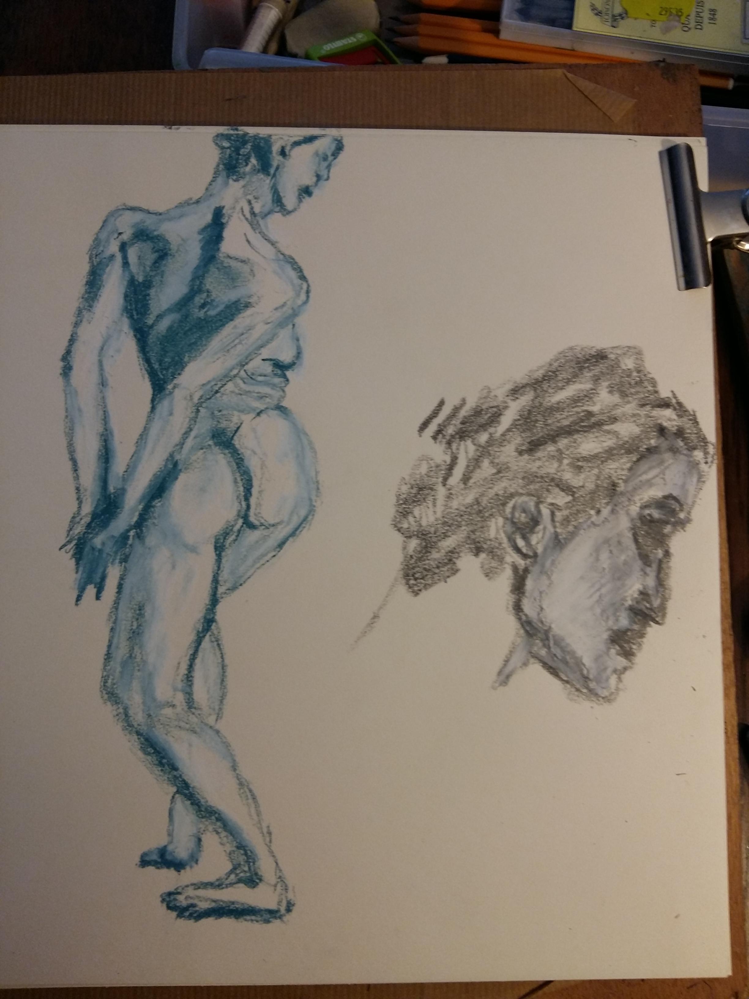 Composition femmes en torsion dos pastel bleue sec avec portraits au crayon de papier et pastel blanc  cours de dessin