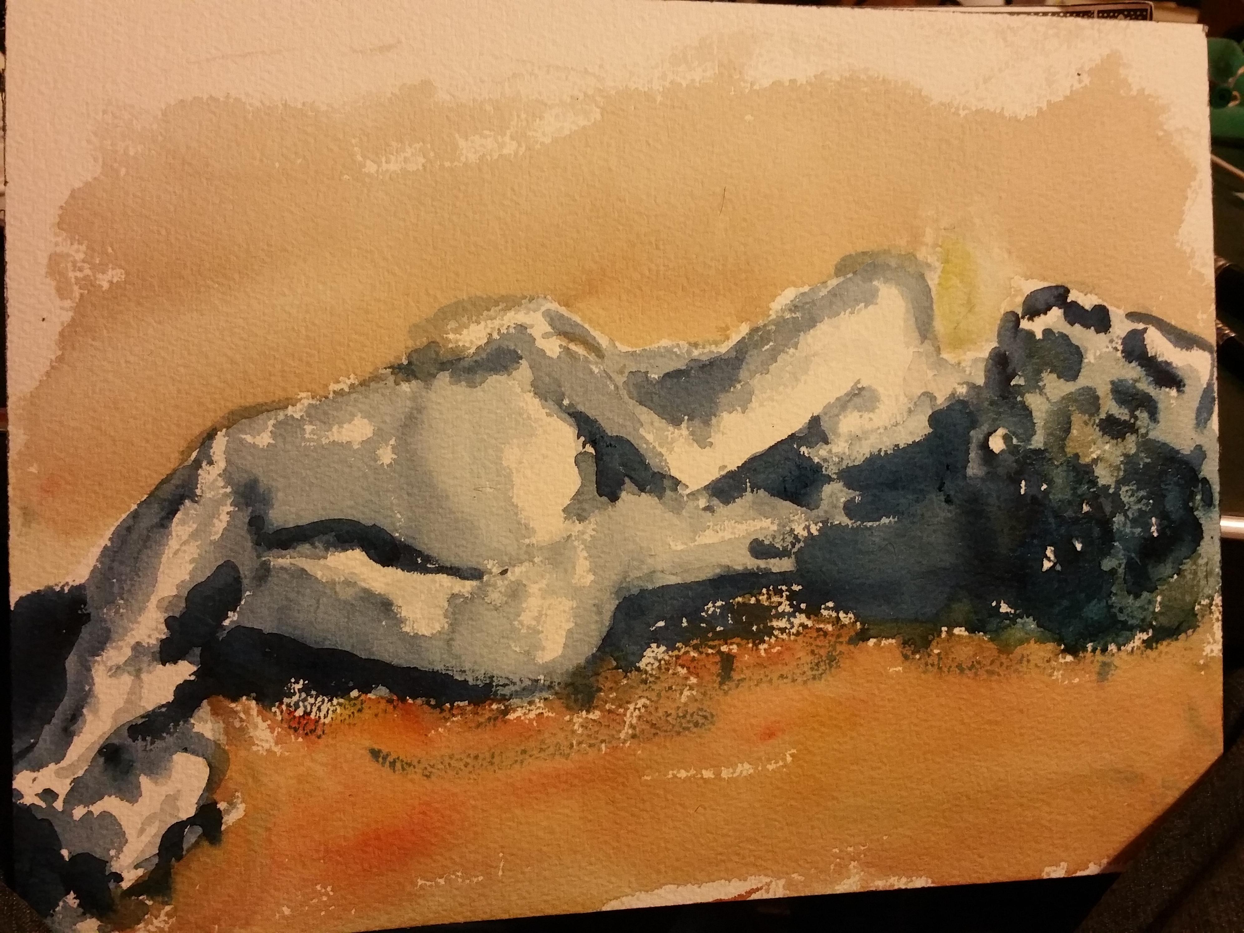 Aquarelle sur papier femme allongé de dos fond orange  cours de dessin