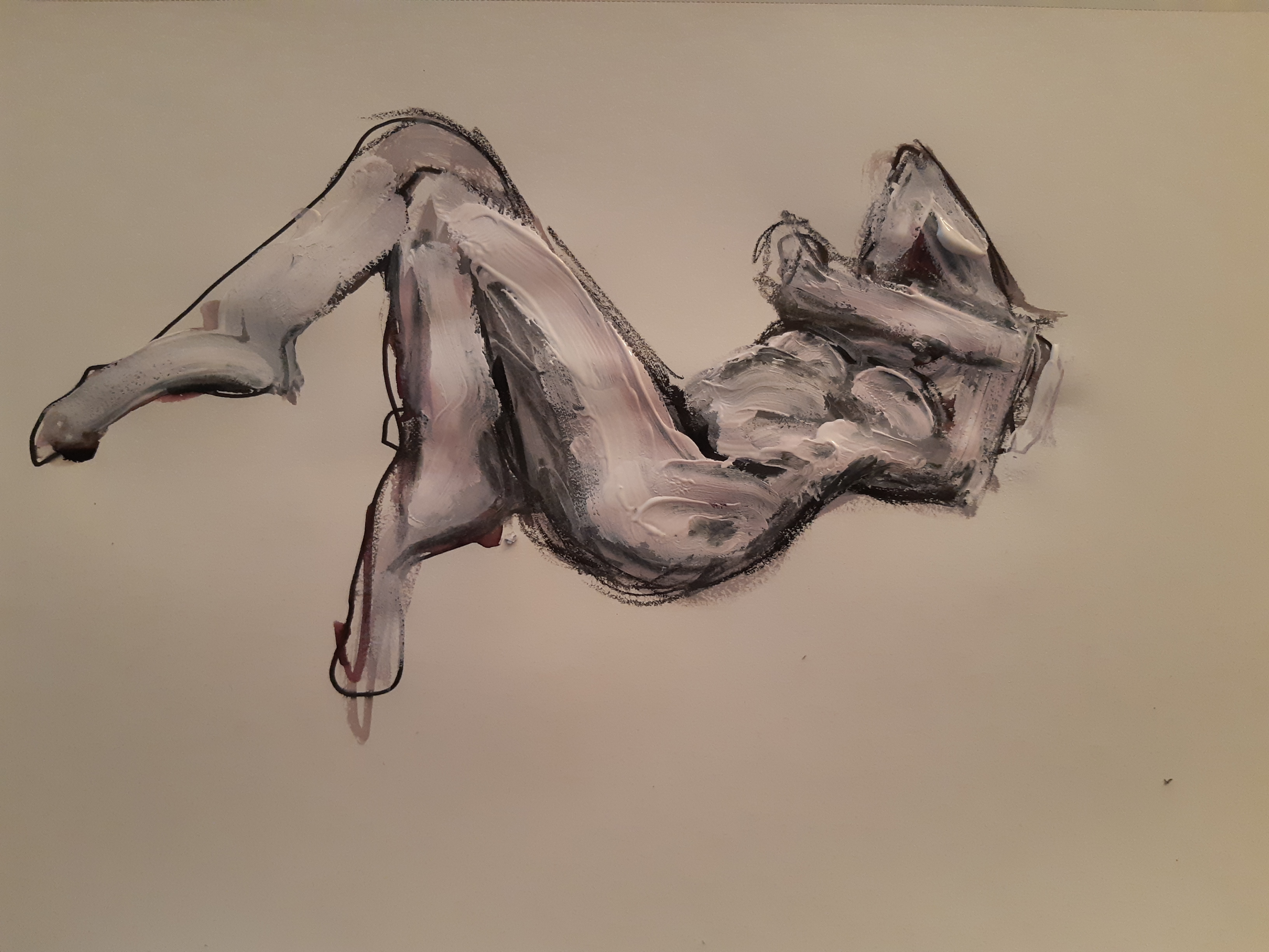 Peinture sur papier technique mixte feutre fusain gouache femme allongé  cours de dessin