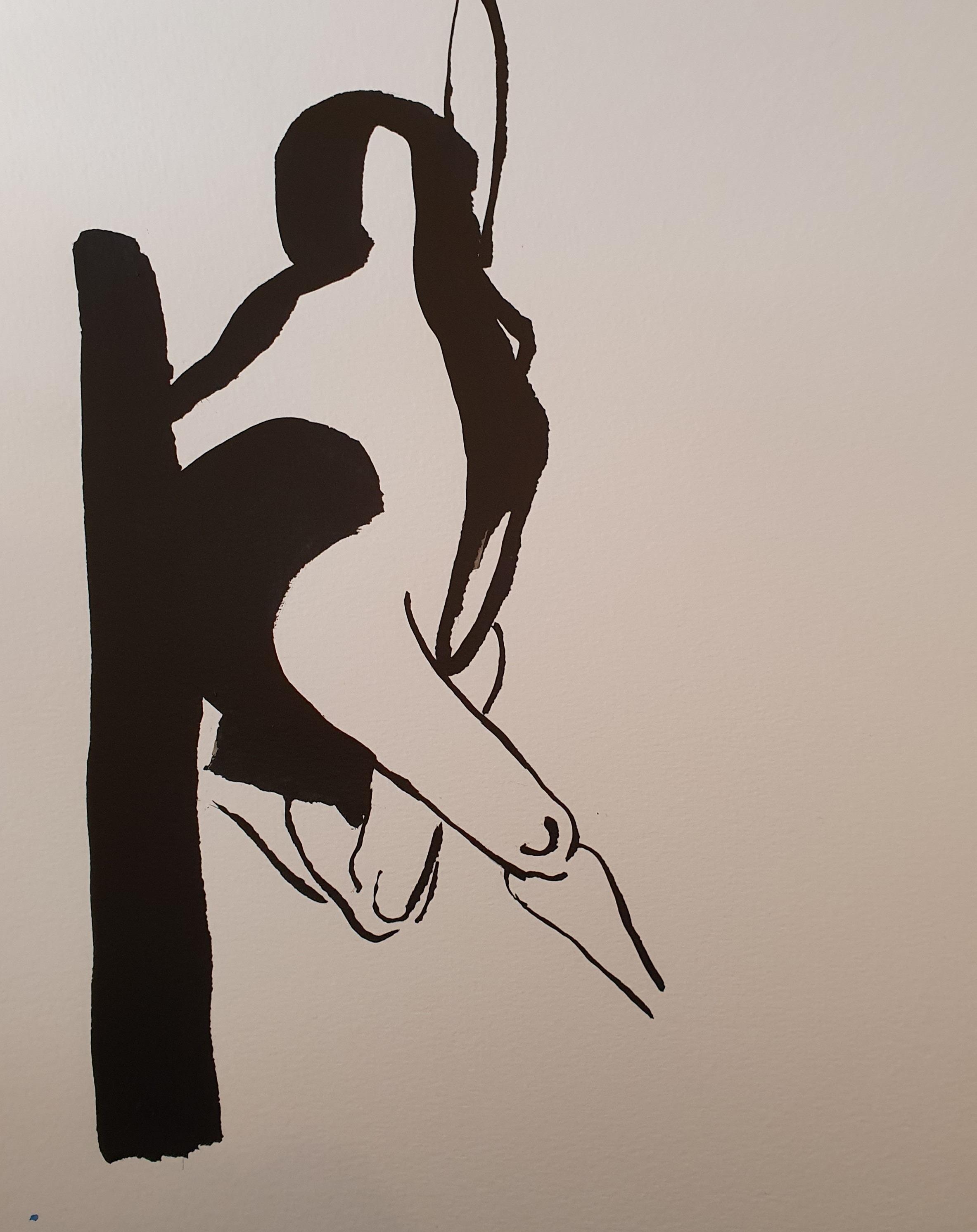 Dessin noir et blanc modèle vivant face encre de Chine sur papier  cours de dessin