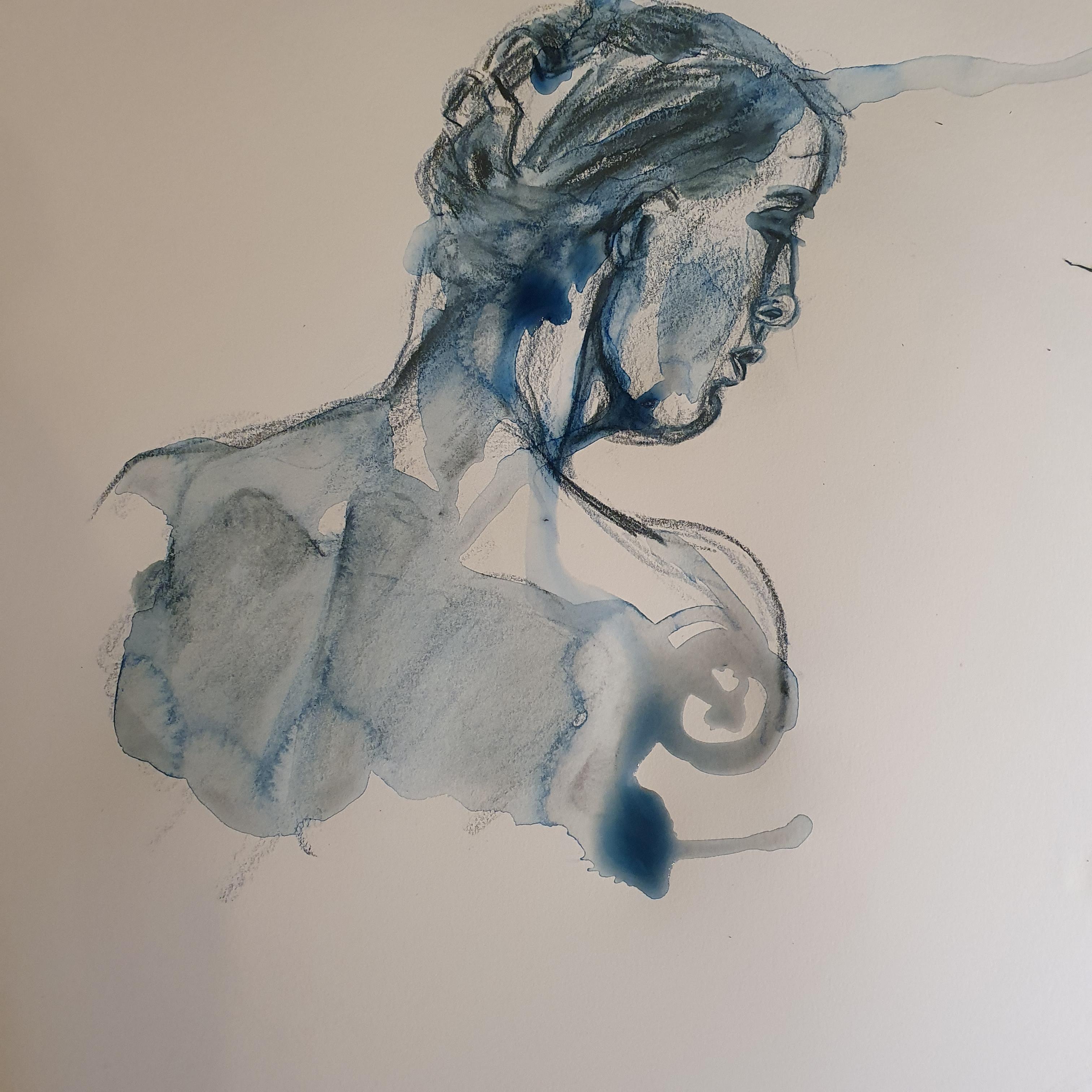 Portrait trois quarts dos fusain aquarelle technique mixte sur papier bleu  cours de dessin