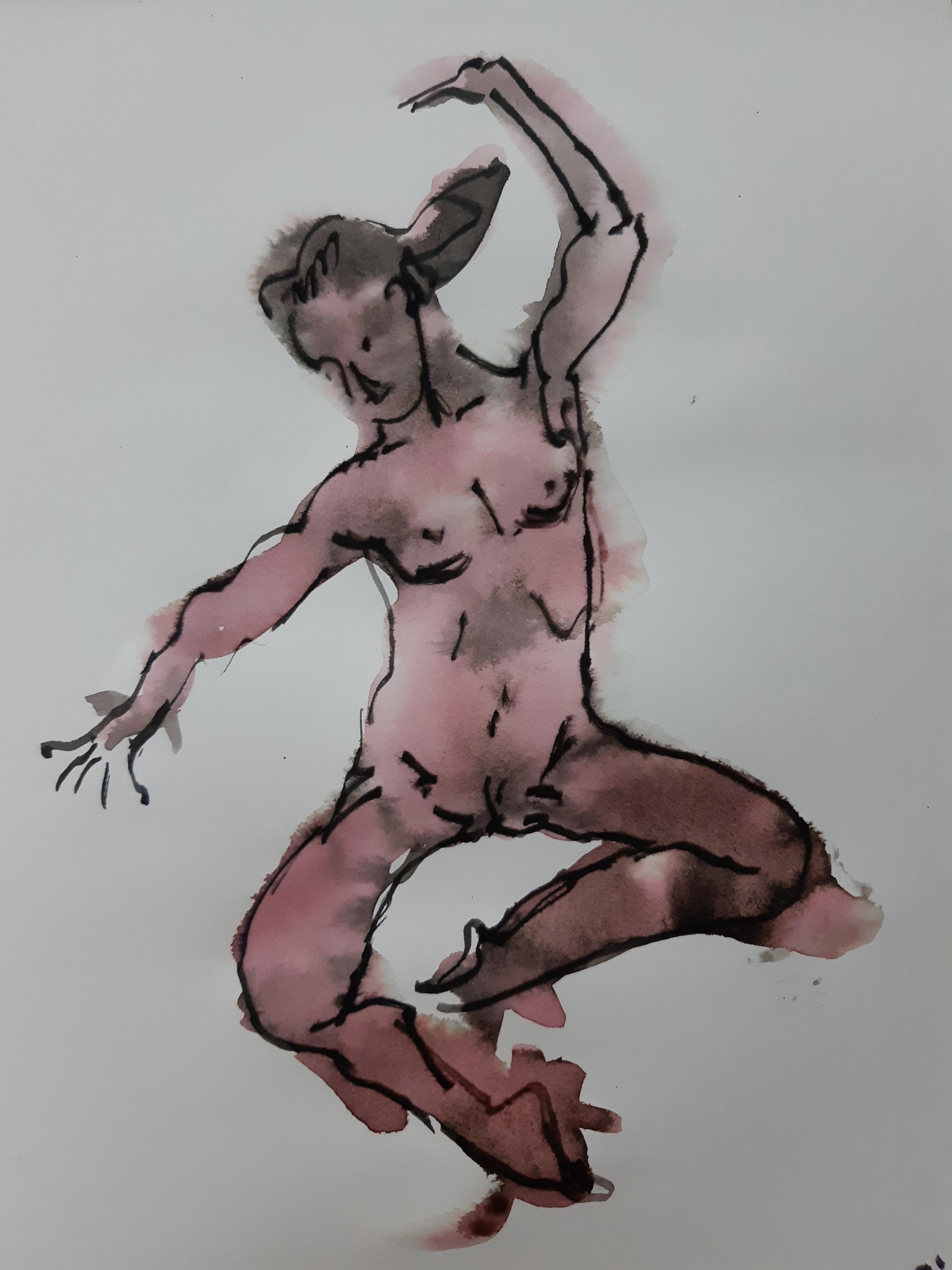 Esquisse femme face encre de Chine aquarelle sur papier avec feutre  cours de dessin