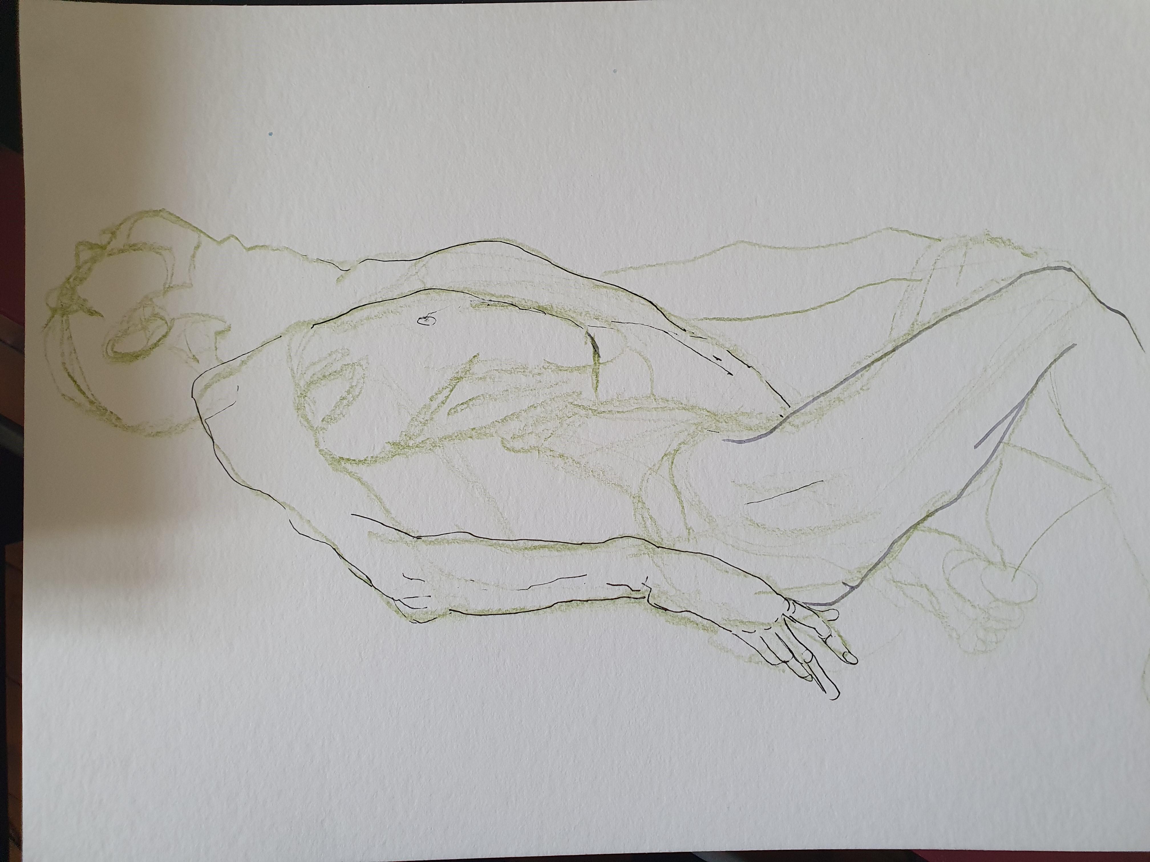 Crayon de couleur feutre fin corps allongé vers sur papier dessin  cours de dessin
