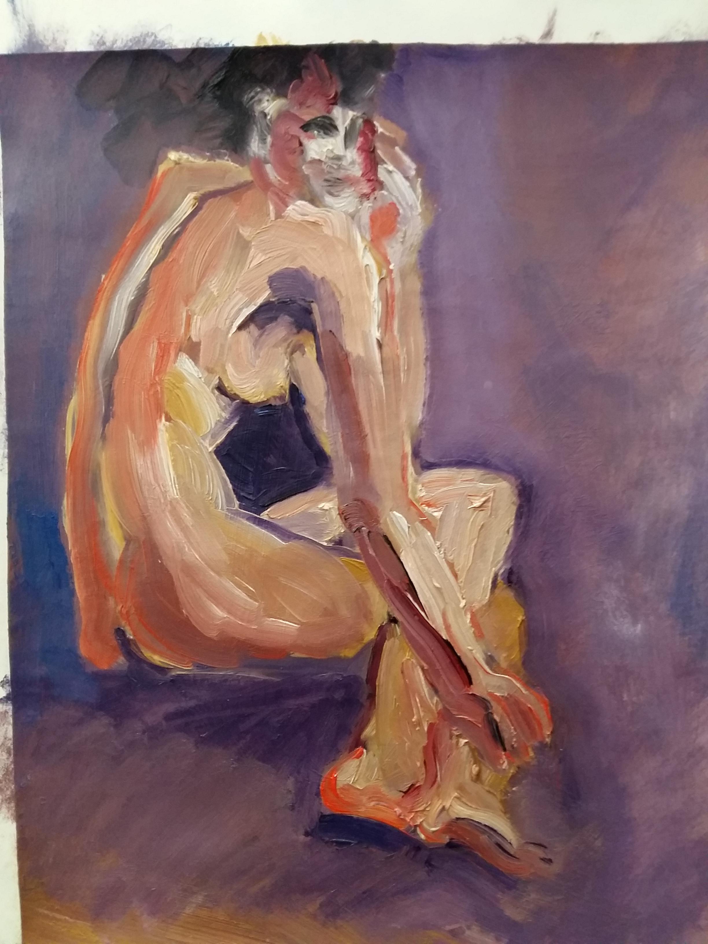 Peinture gouache corps dos trois quarts font violer  cours de dessin