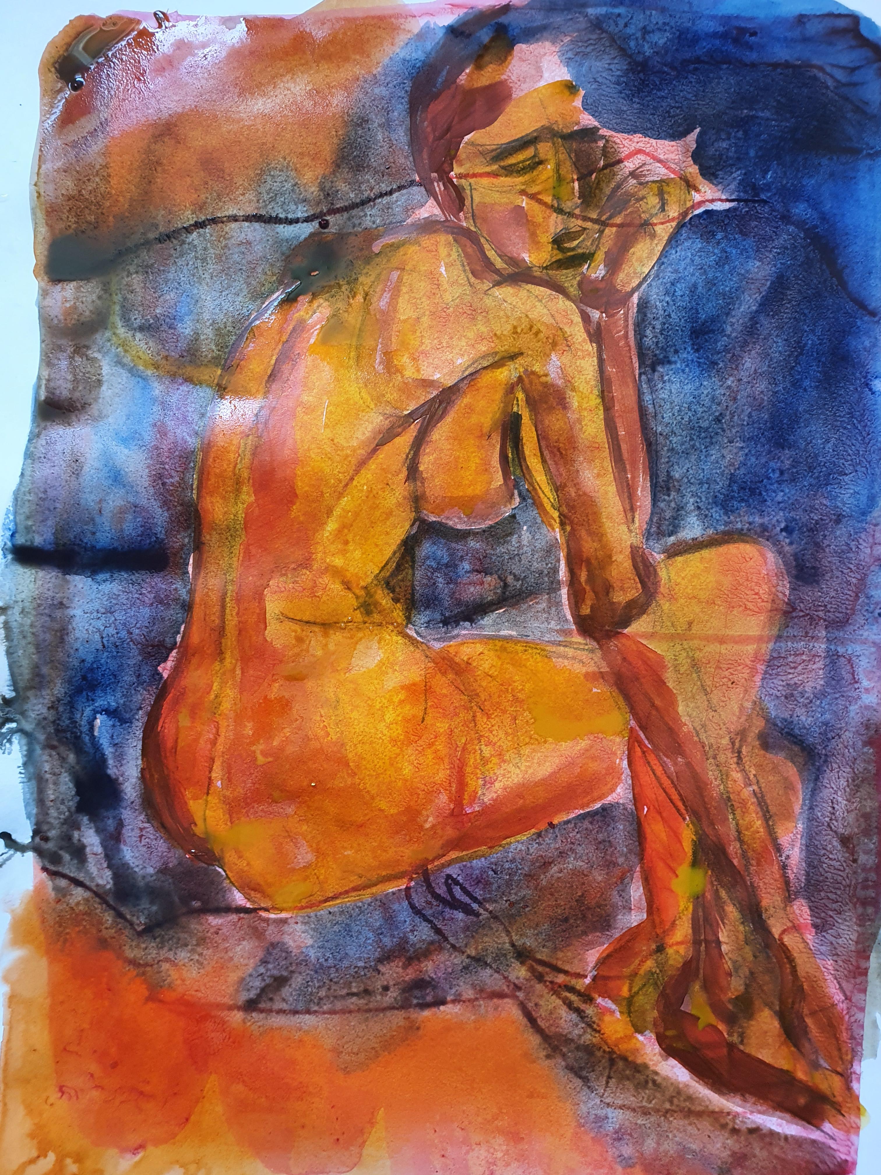 Peinture corps trois quarts d'aux femmes aquarelle feutre  cours de dessin