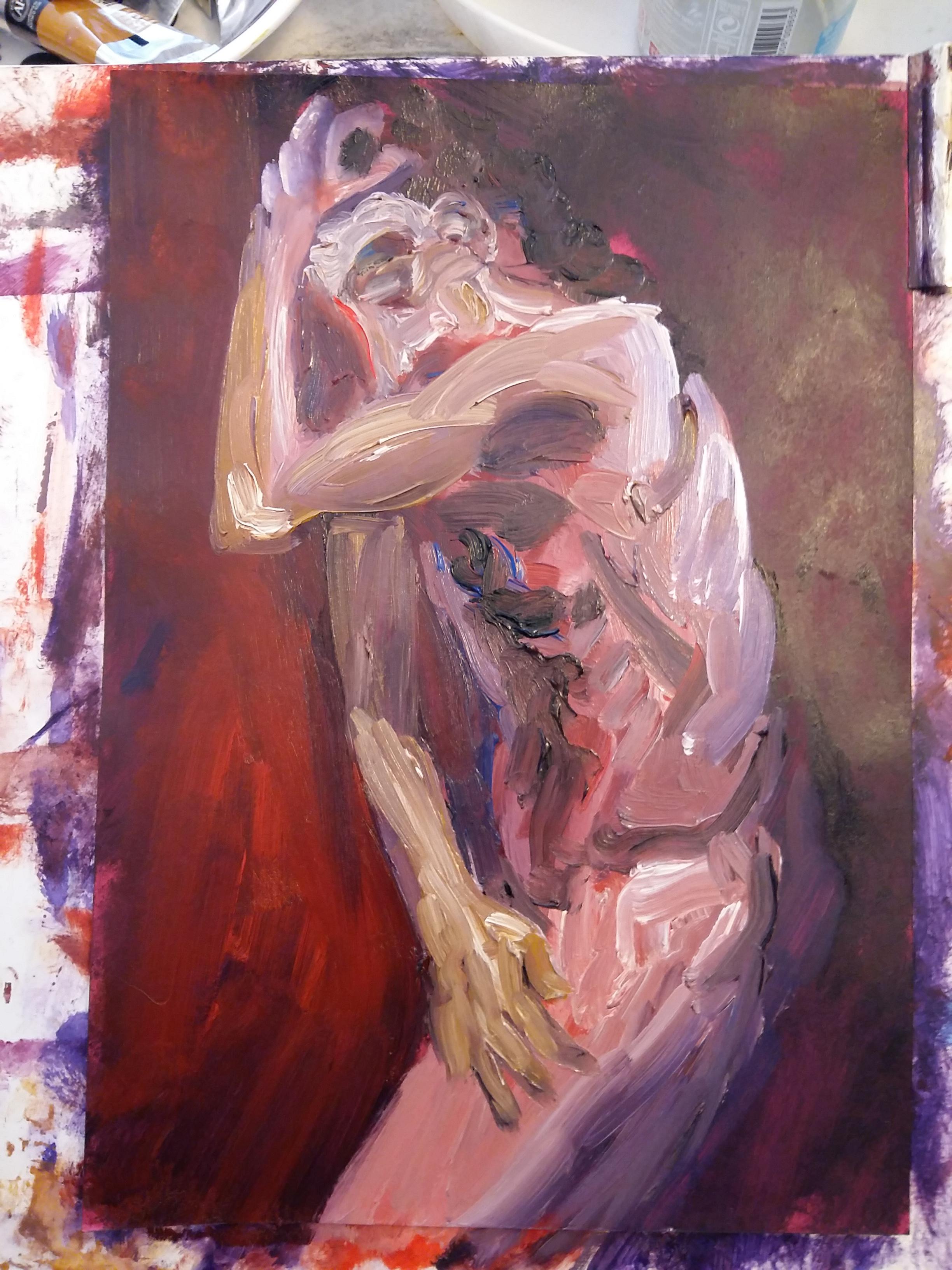 Peinture gouache rose et violet corps profil  cours de dessin