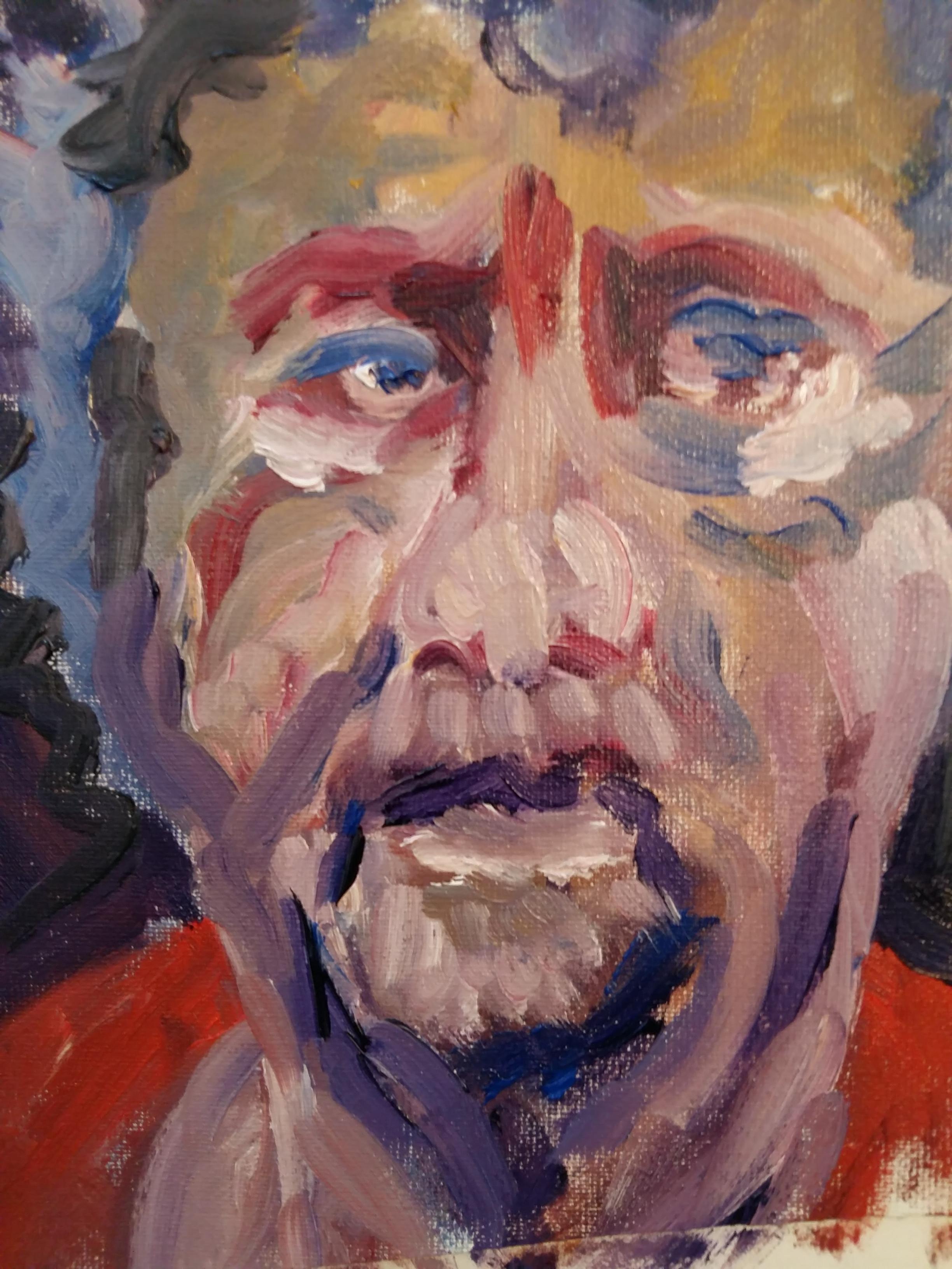 Portrait face homme peinture gouache  cours de dessin