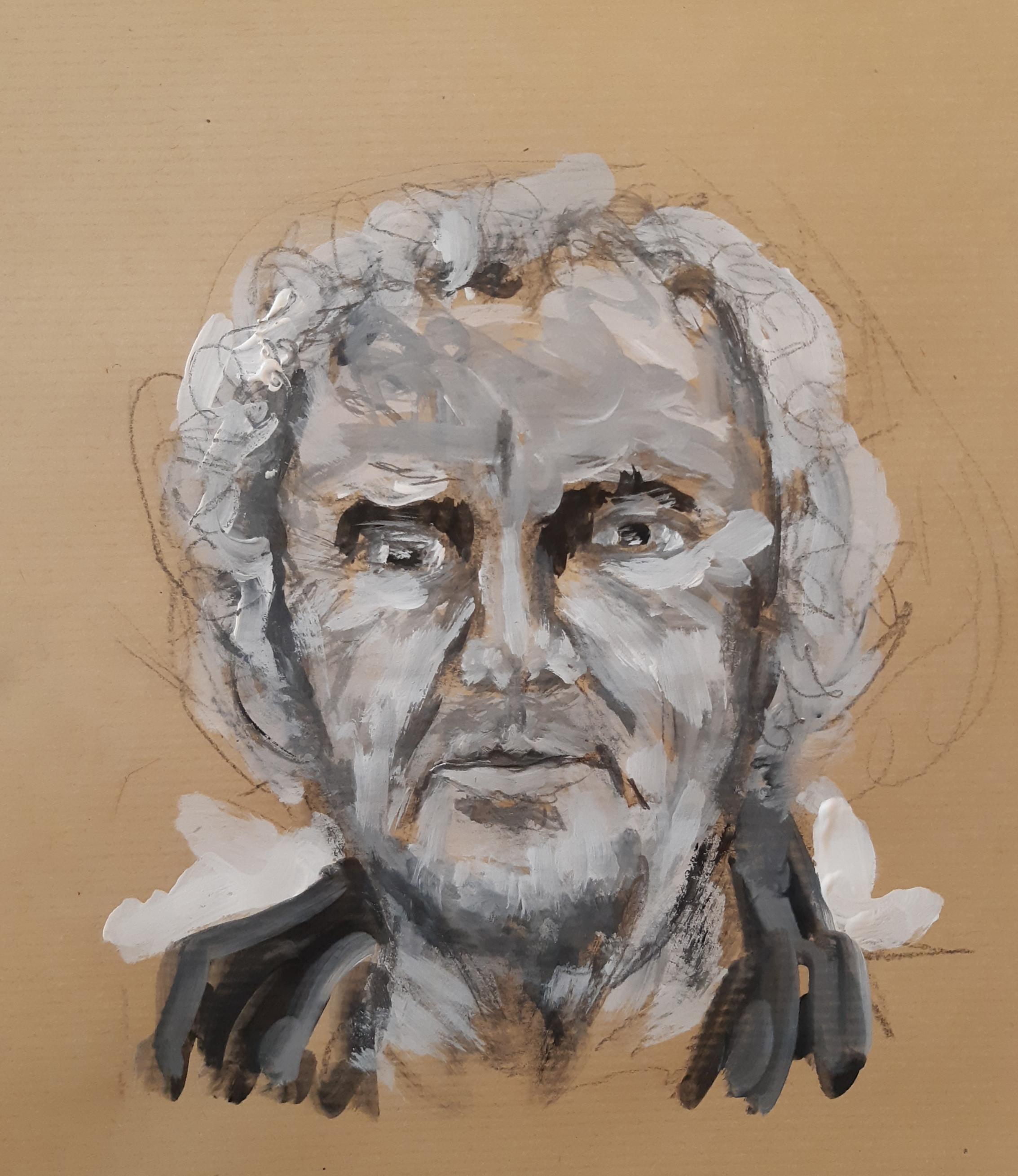 Portrait camaïeu guéri technique mixte gouache crayon sur papier  cours de dessin