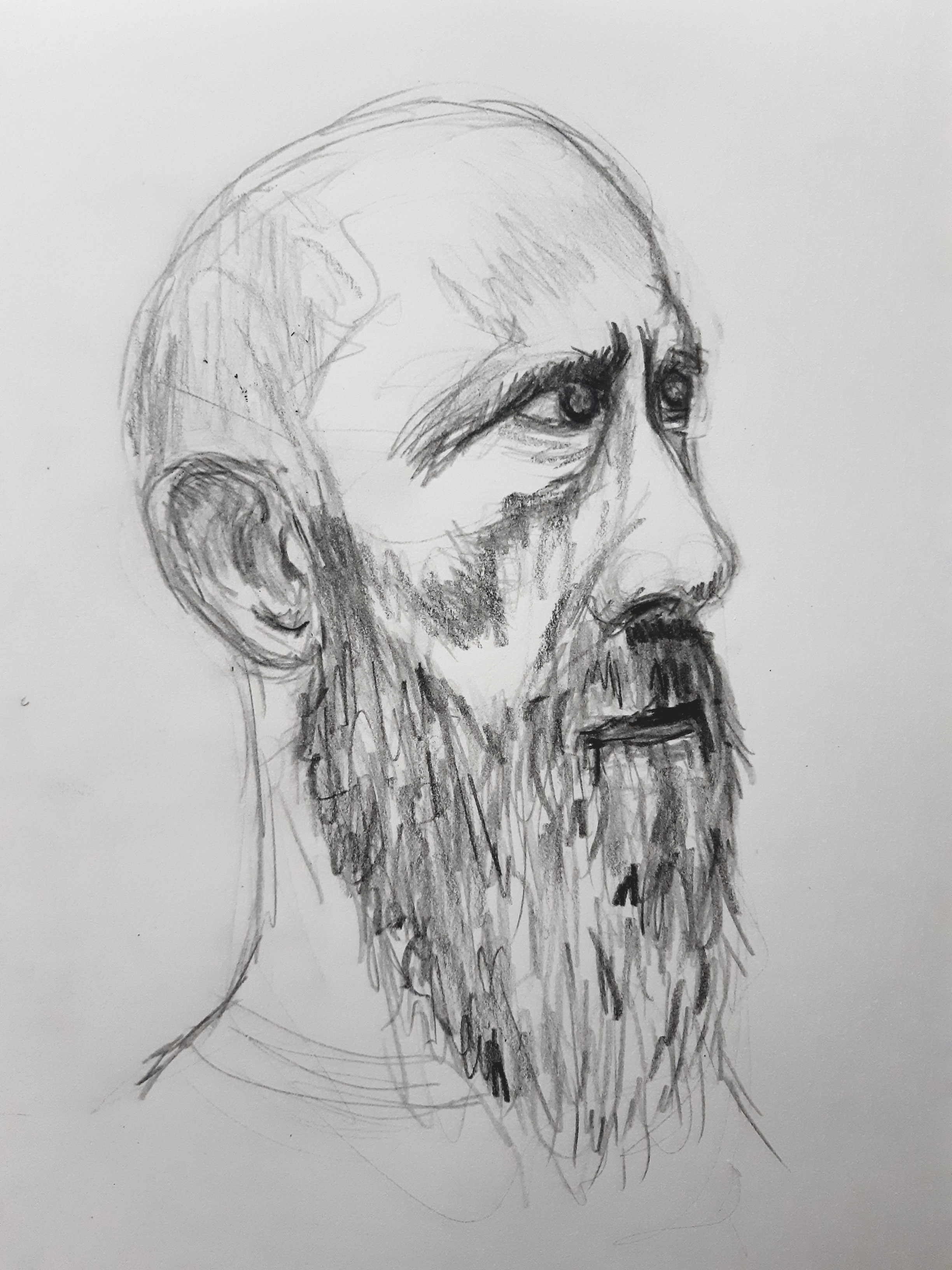 Portrait homme 3/4 face graphite sur papier esquisse  cours de dessin