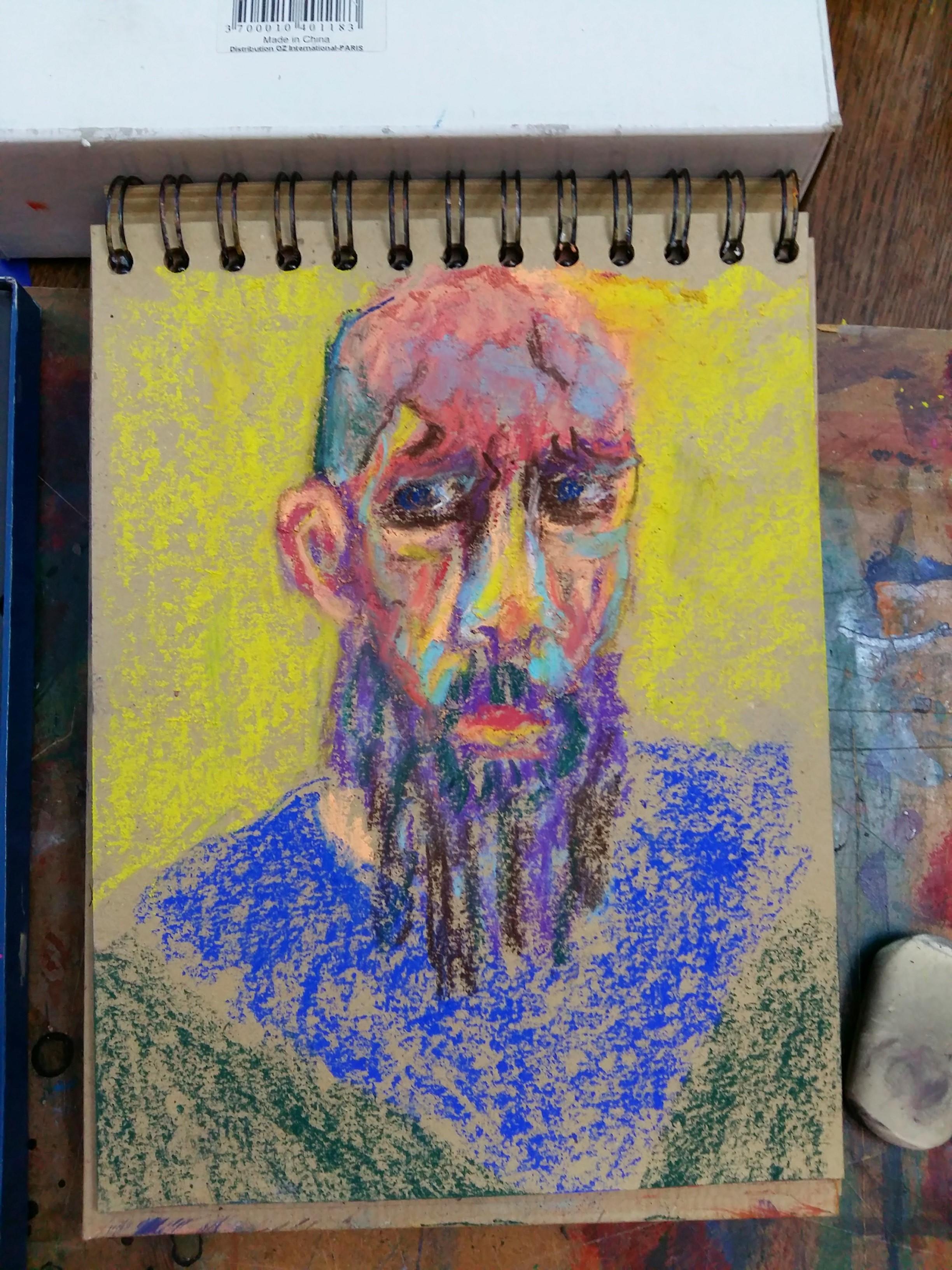 Portraits pastels polychromes sur papier dessin  cours de dessin