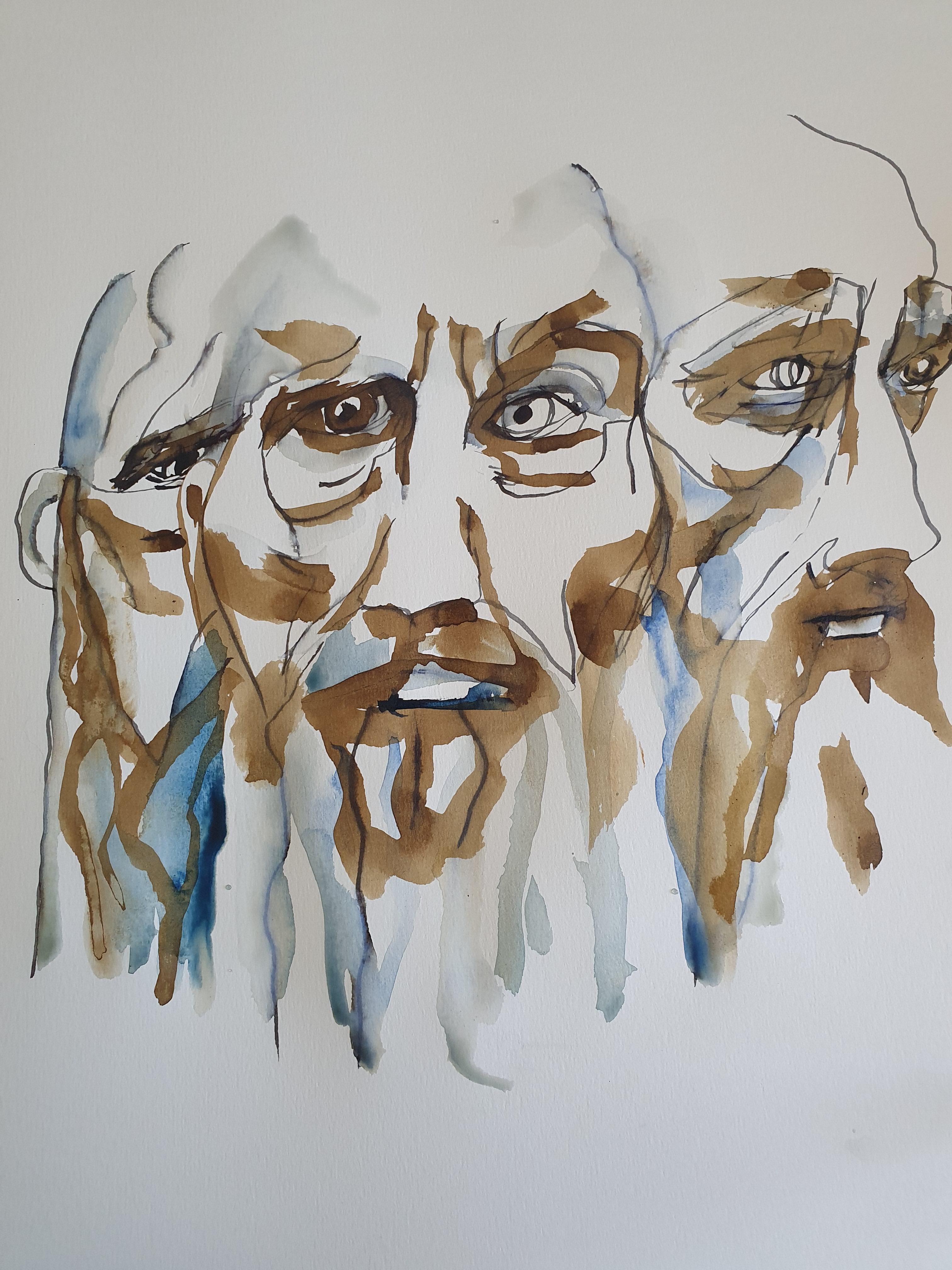 Portrait aquarelle broux de noix crayon  cours de dessin
