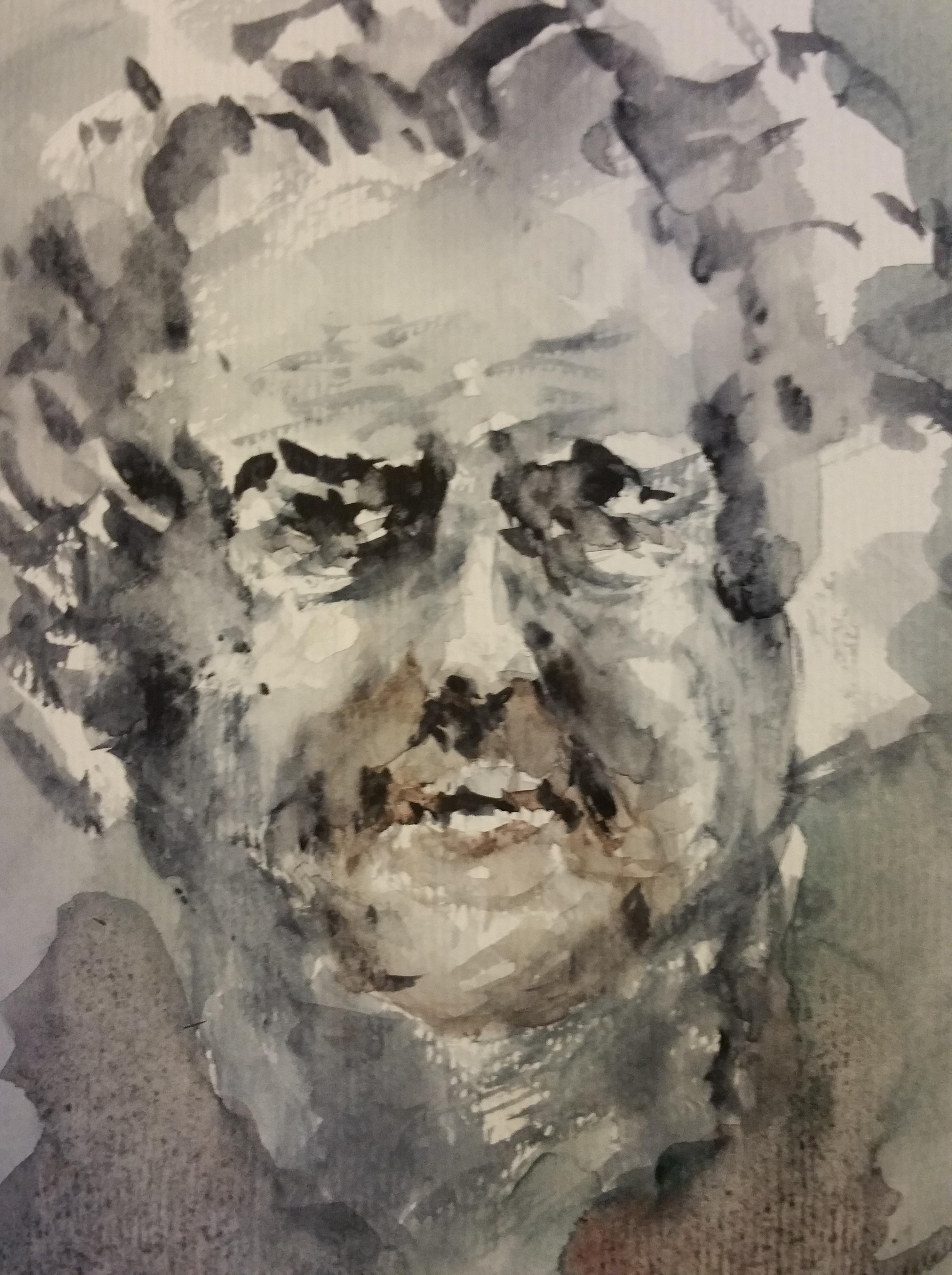 Portrait aquarelle camaïeu de gris ocre homme face  cours de dessin