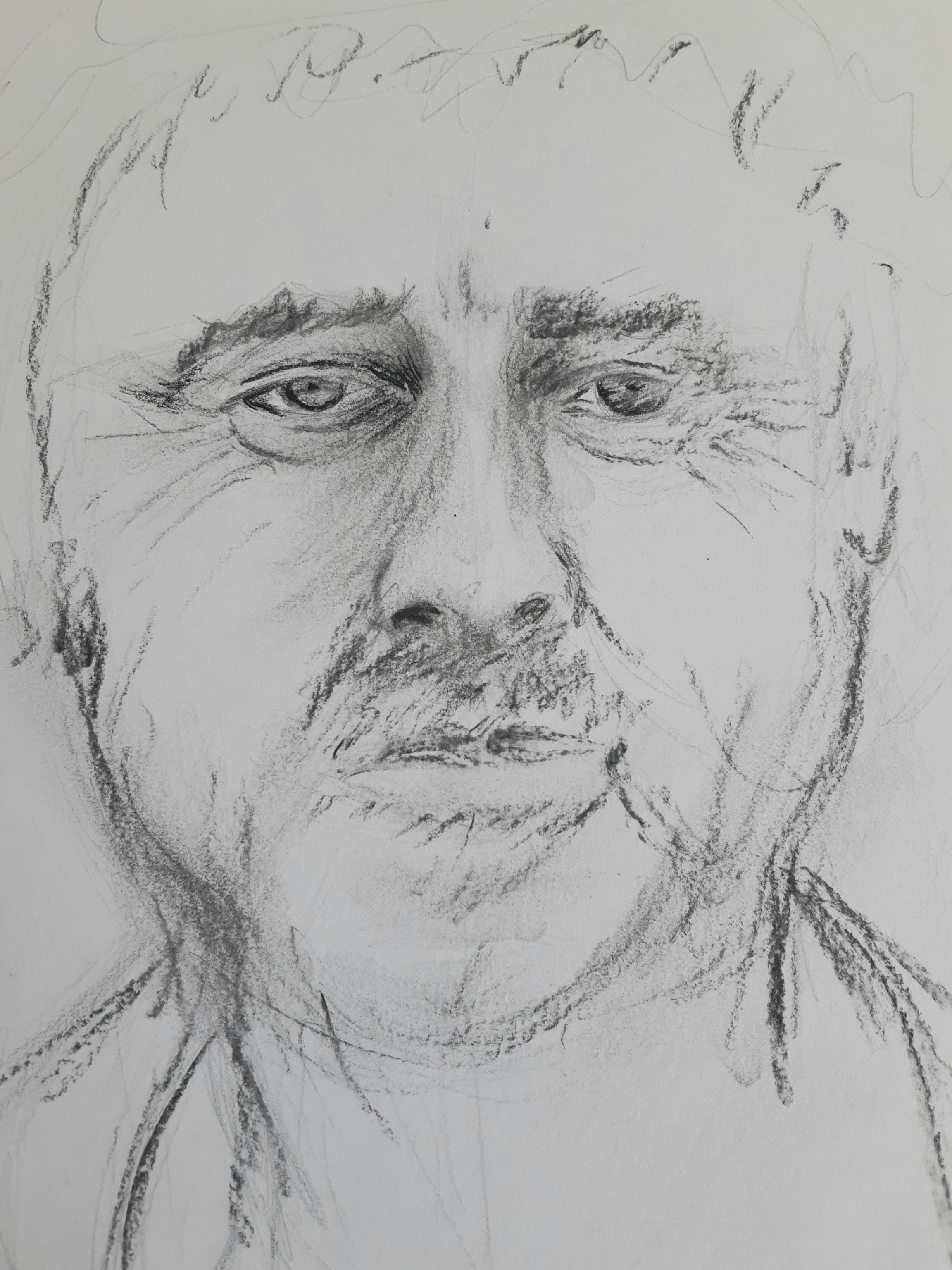 Esquisse portraits face fusain  cours de dessin