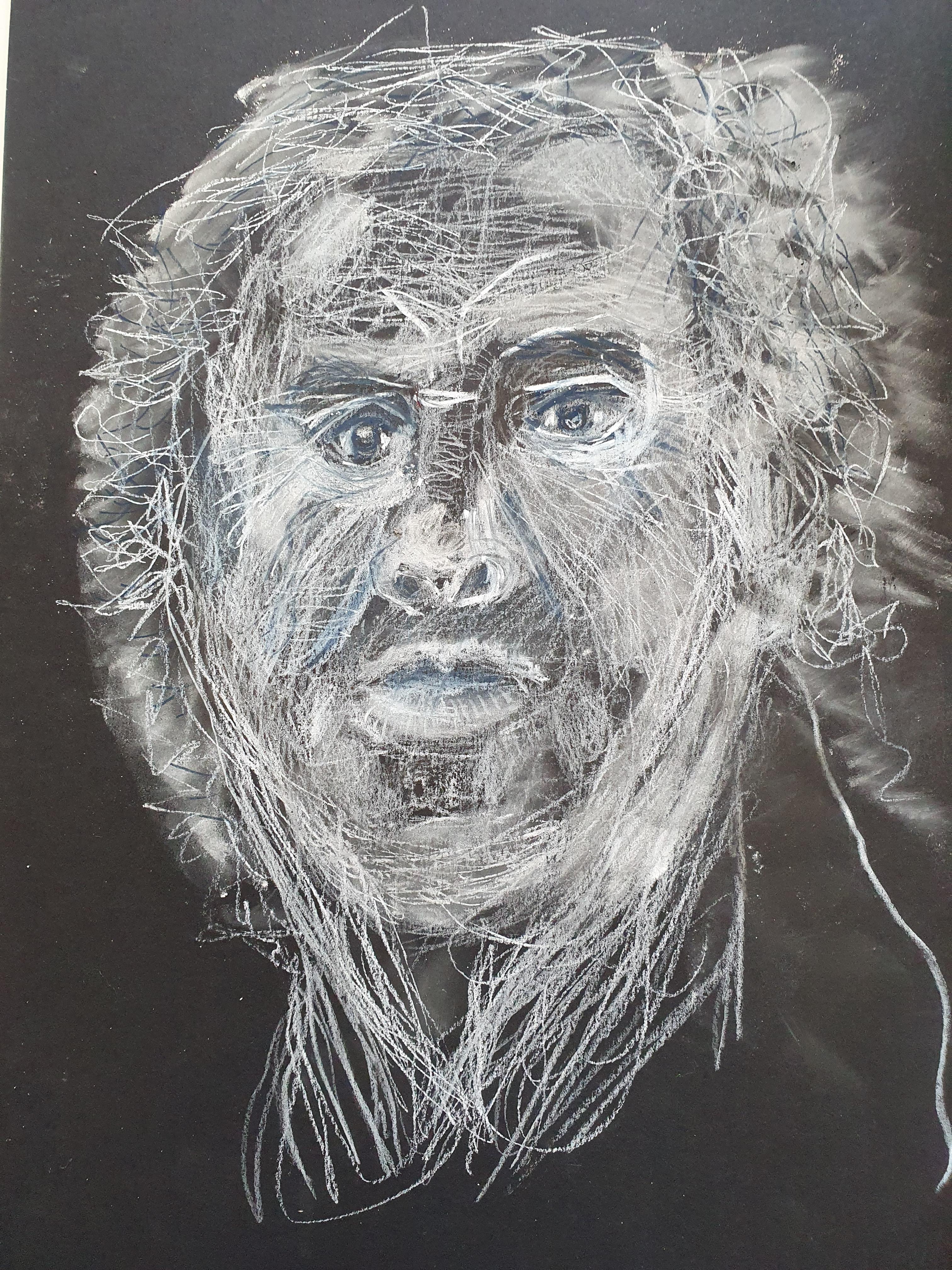 Portrait technique mixte sur papier noir  cours de dessin