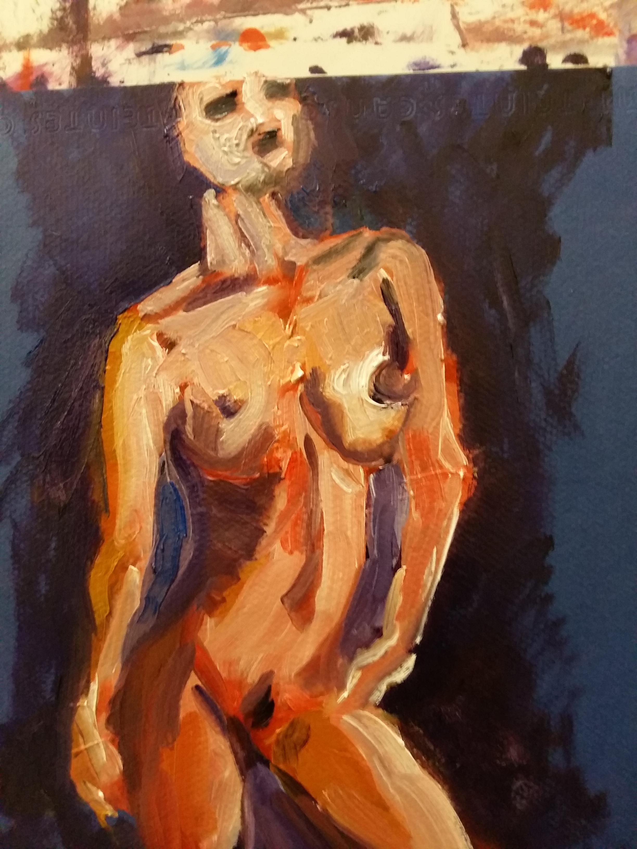 Buste femme peinture gouache  cours de dessin