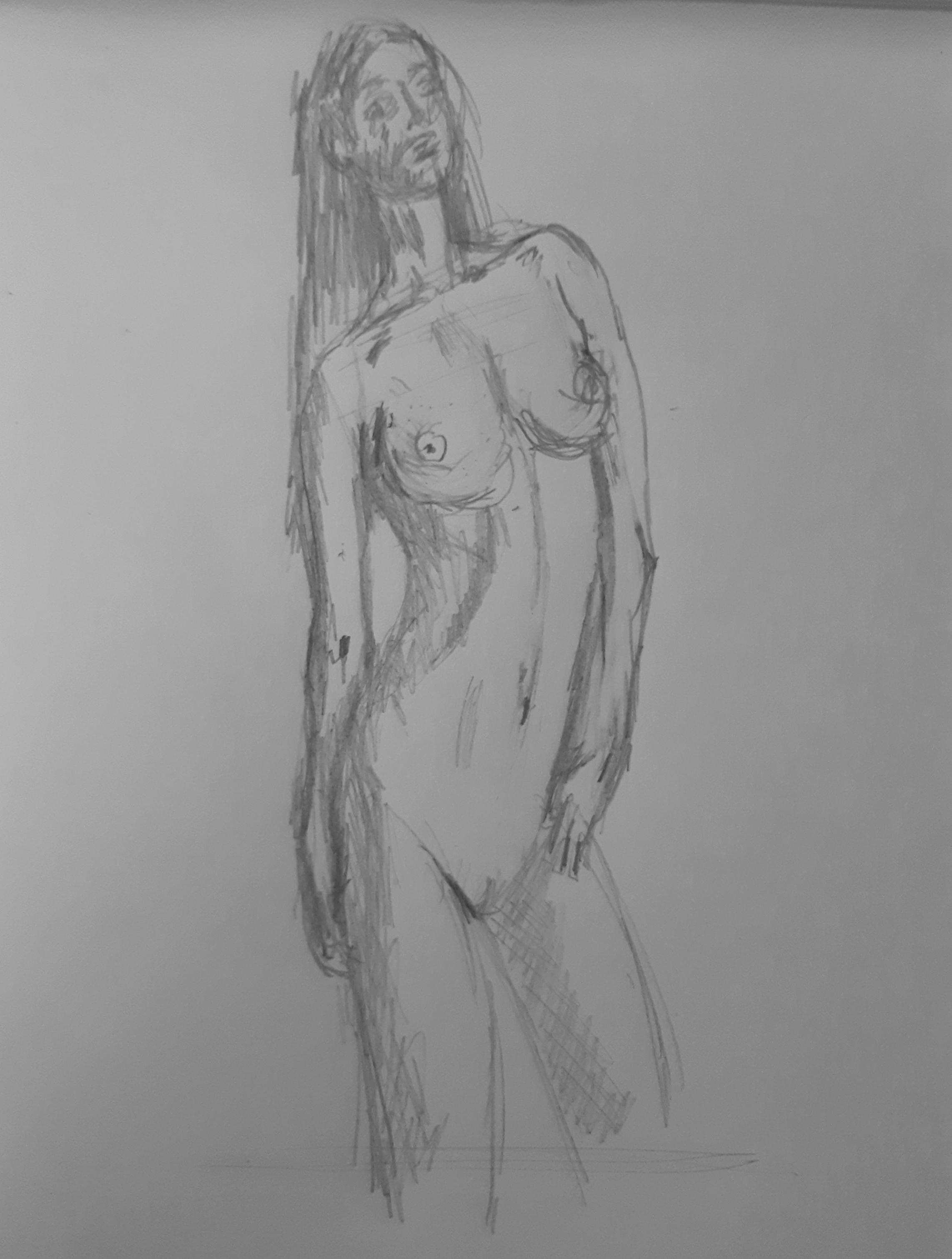 Portrait en pied crayon de  papier trois quarts face  cours de dessin