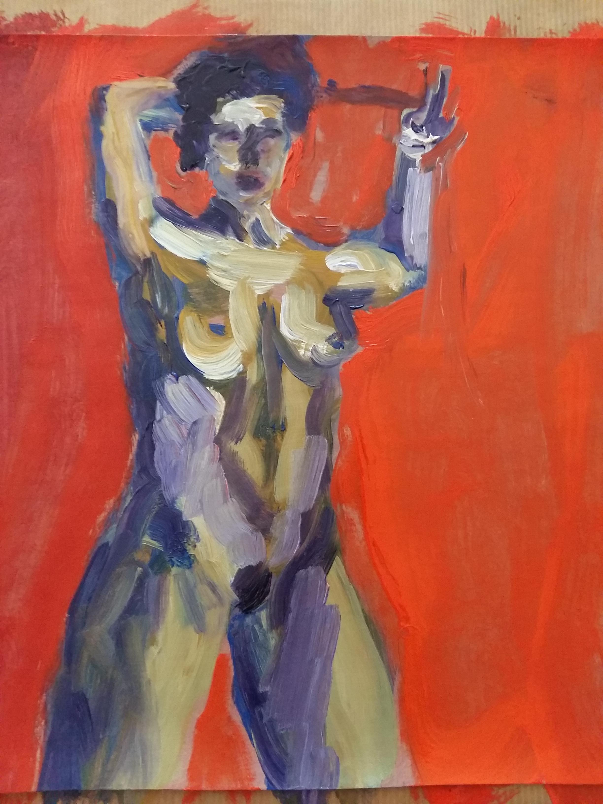 Peinture fond rouge gouache acrylique  cours de dessin
