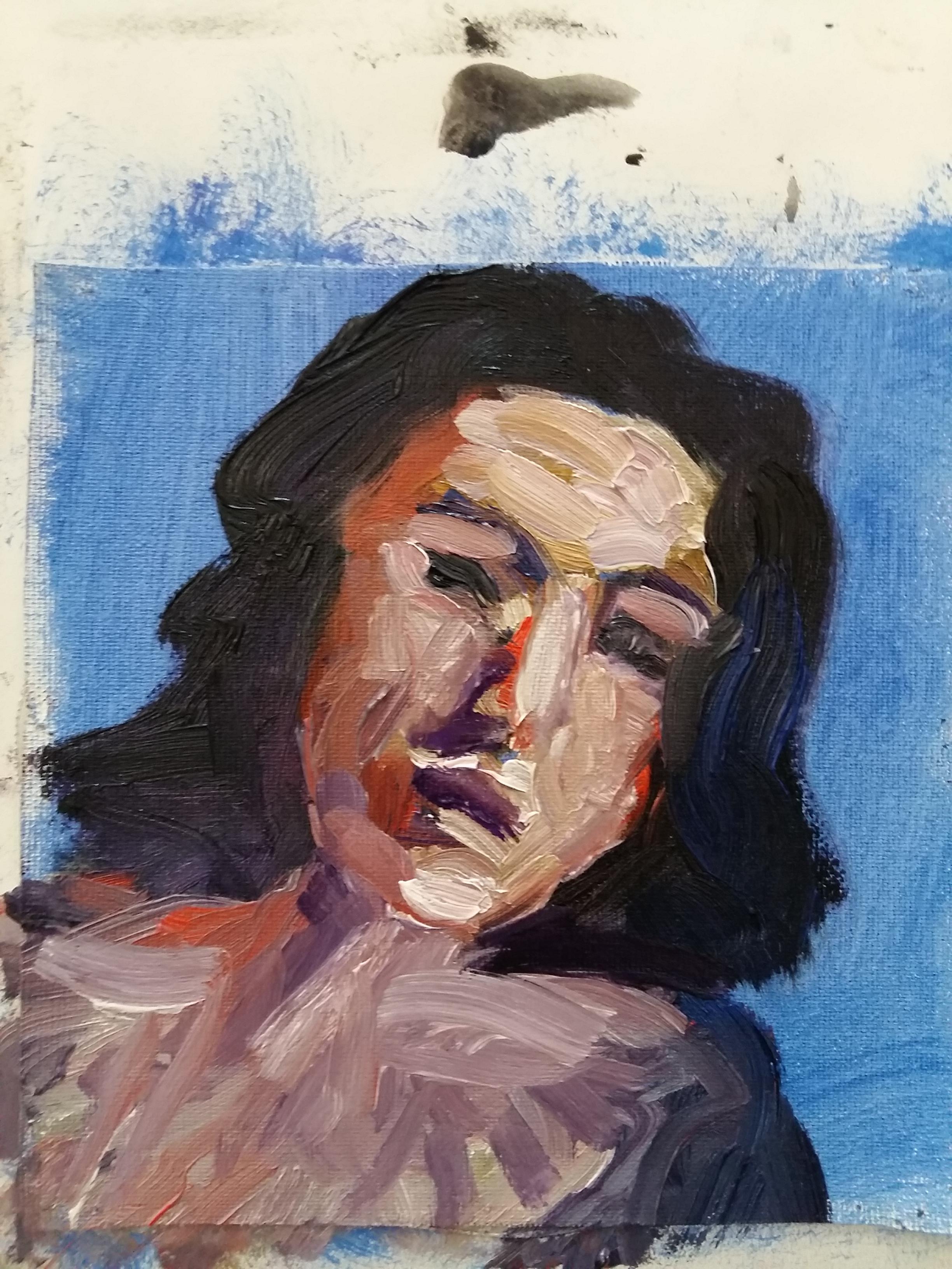 Portrait peinture à huile femme  cours de dessin