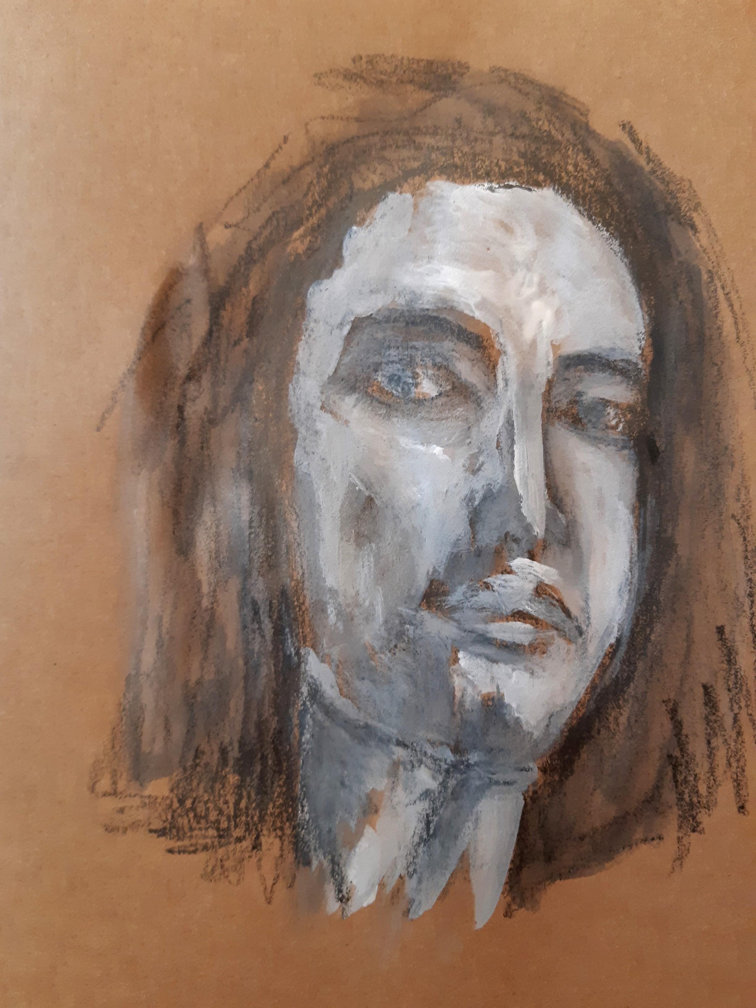 Portrait technique mixte fusain gouache blanche sur papier marron  cours de dessin