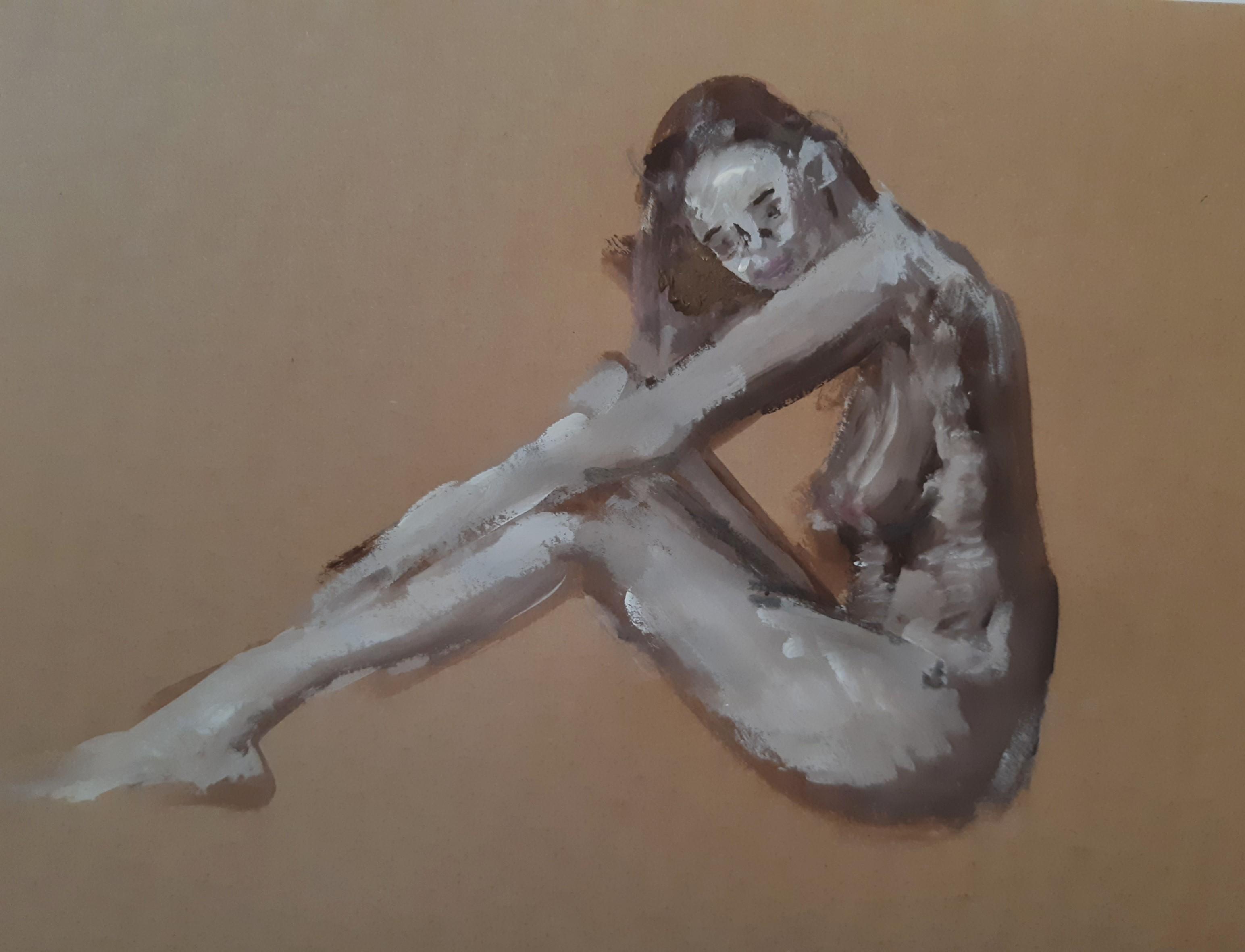 Peinture acrylique blanche fusain sur papier gris  cours de dessin