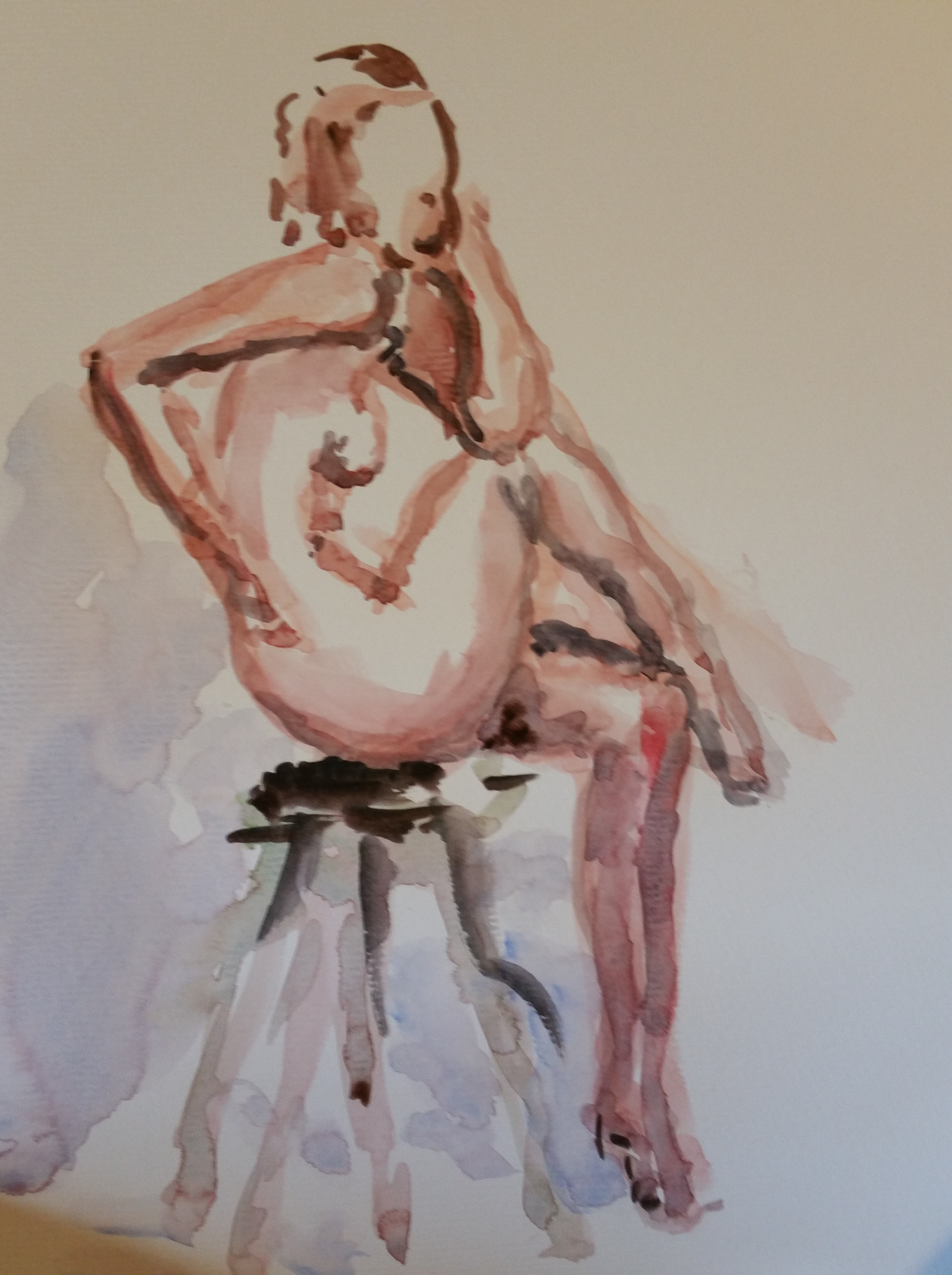 Aquarelles polychromes femmes assises  cours de dessin