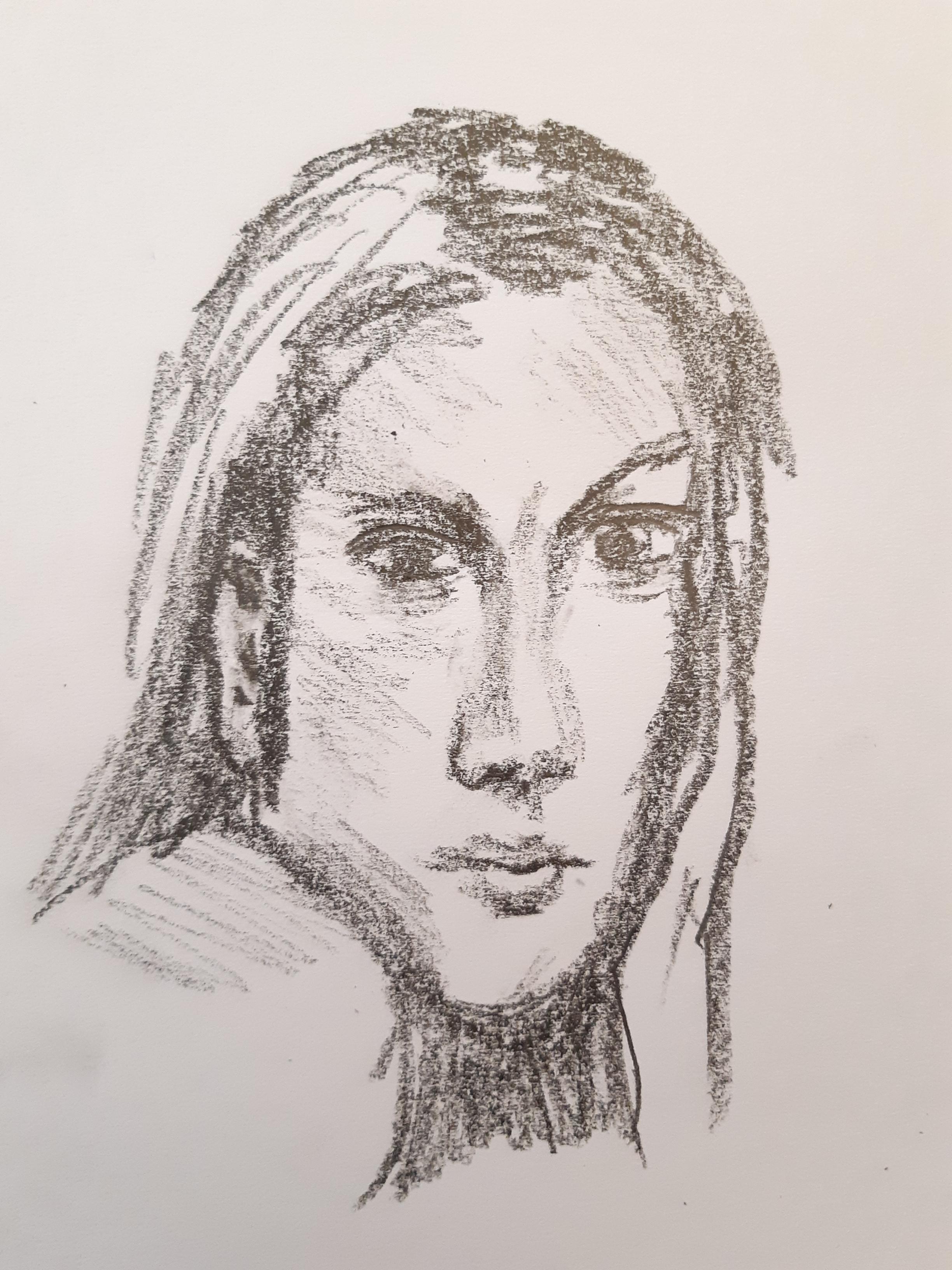 Portrait graphique gras 6b  cours de dessin