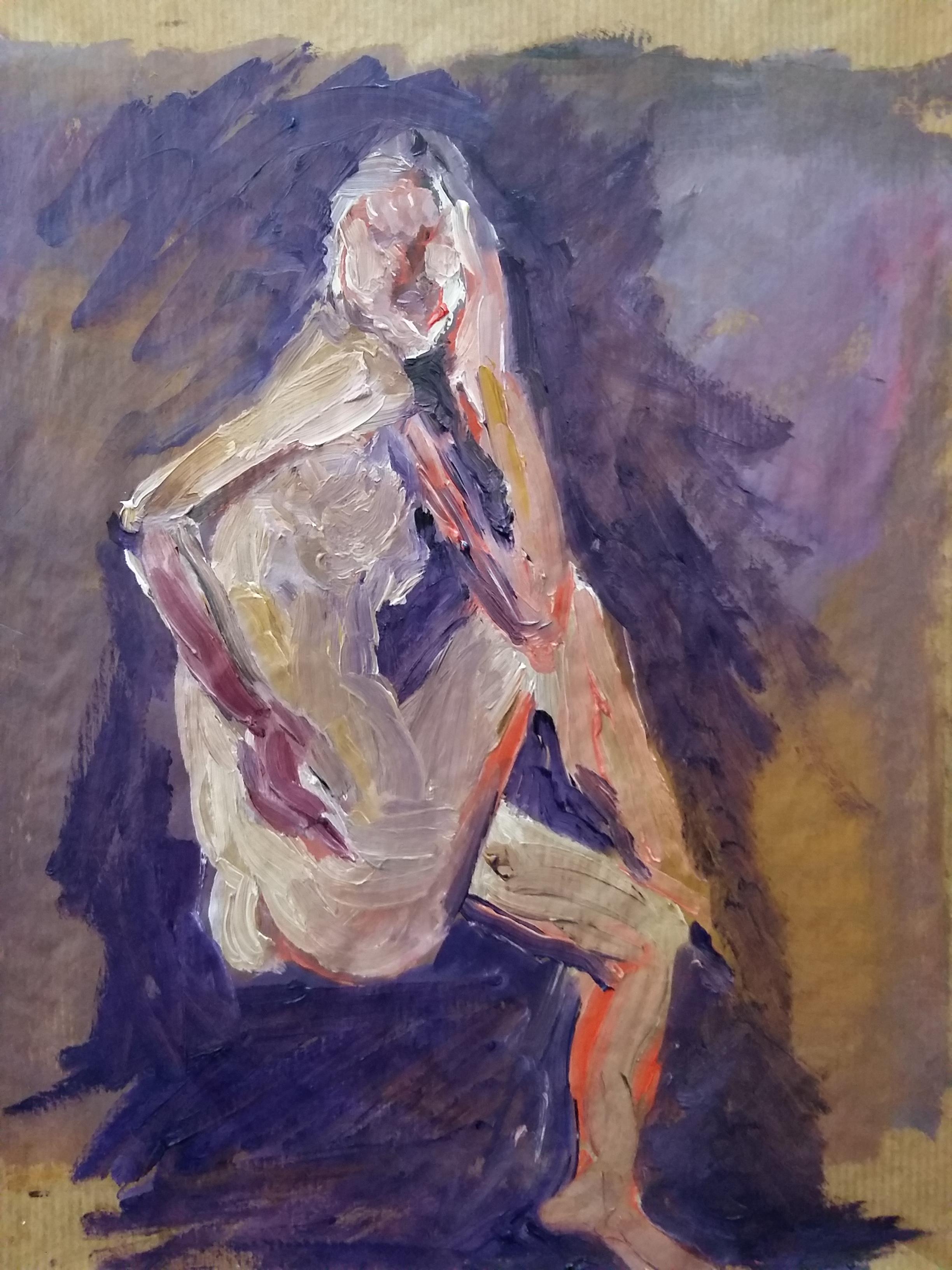 Peintures gouache font violet corps trois quarts dos assis  cours de dessin