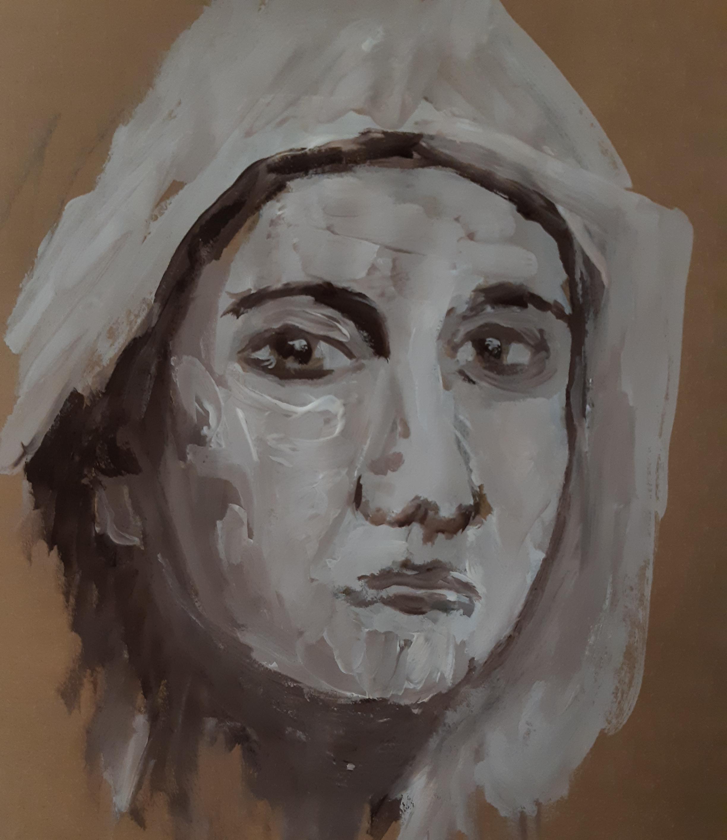 Portrait gouache fond gris  cours de dessin
