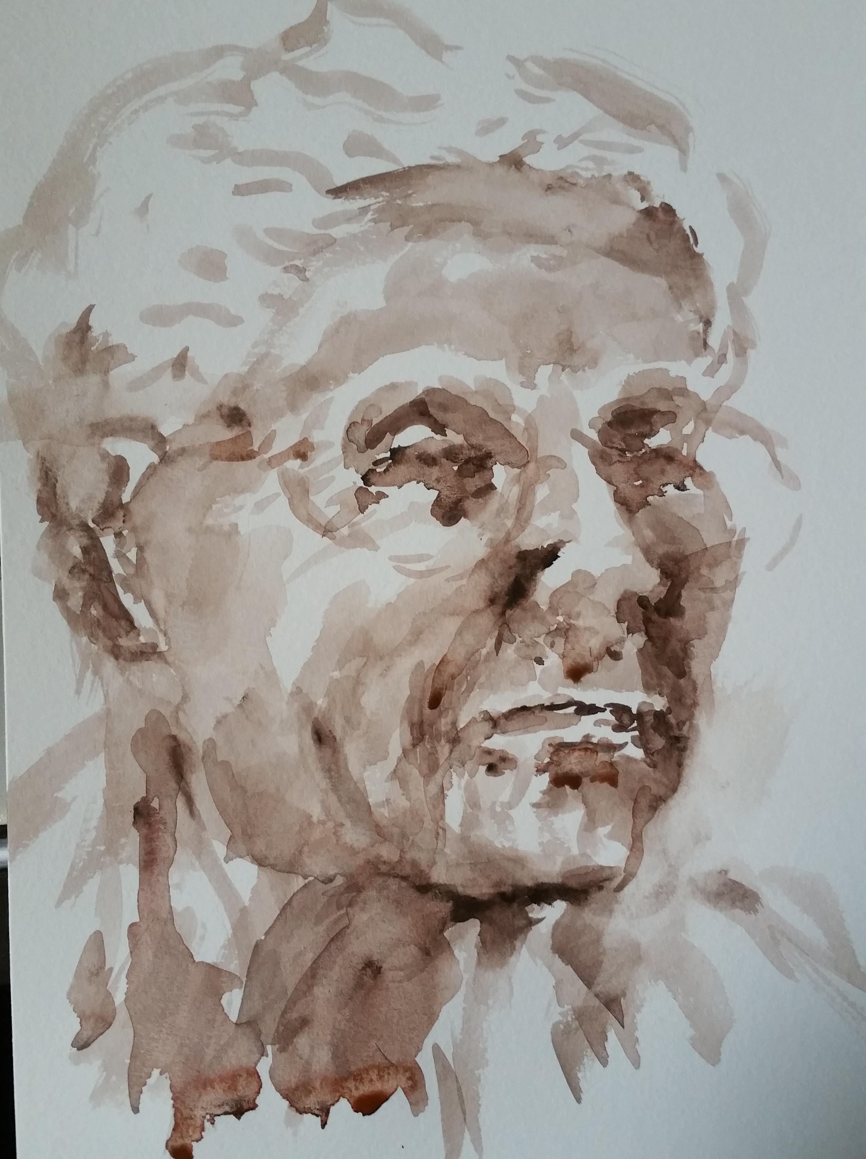 Portrait aquarelles monochromes trois quarts face  cours de dessin