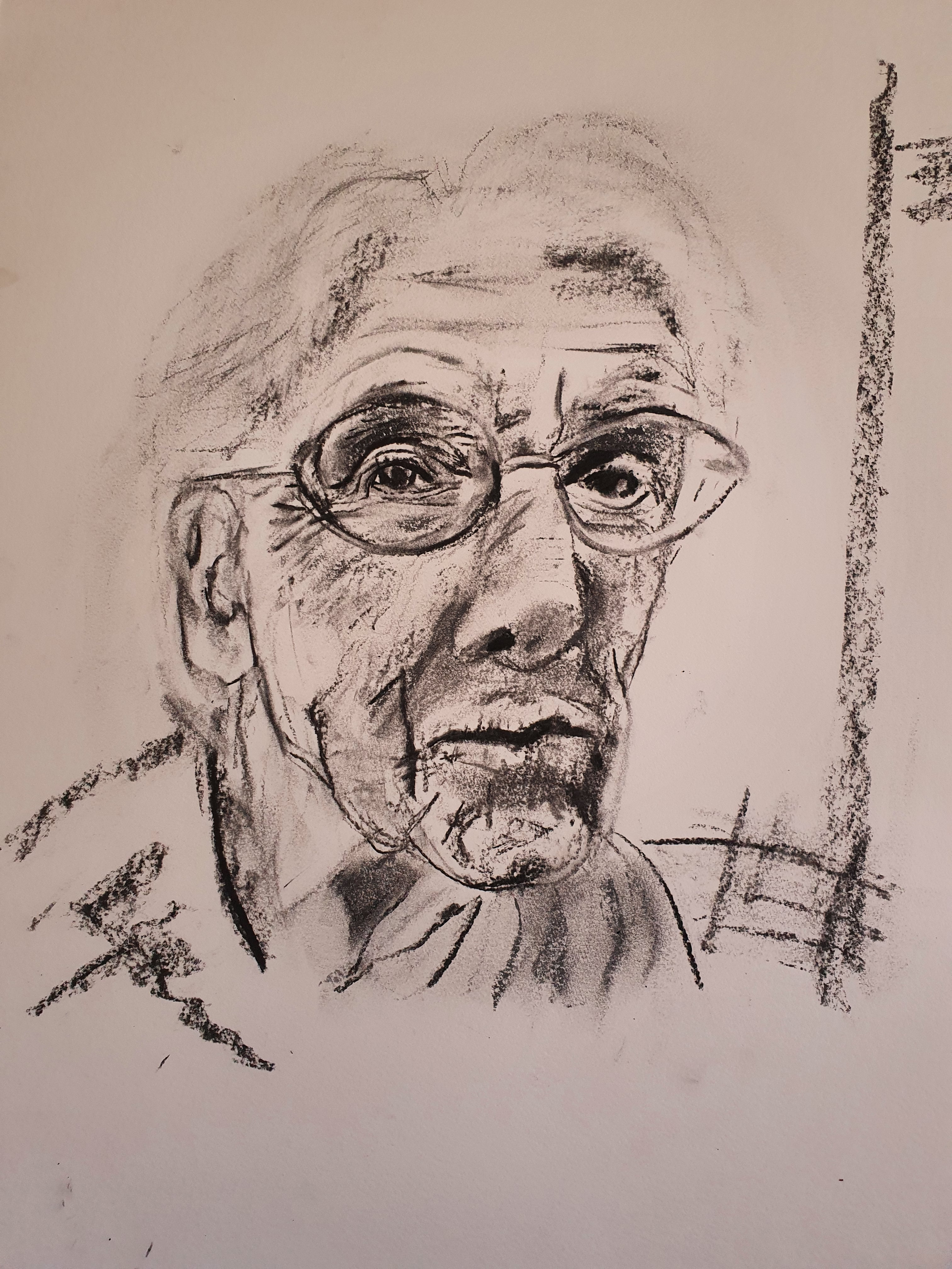 Portrait fusain femme trois quarts face  cours de dessin