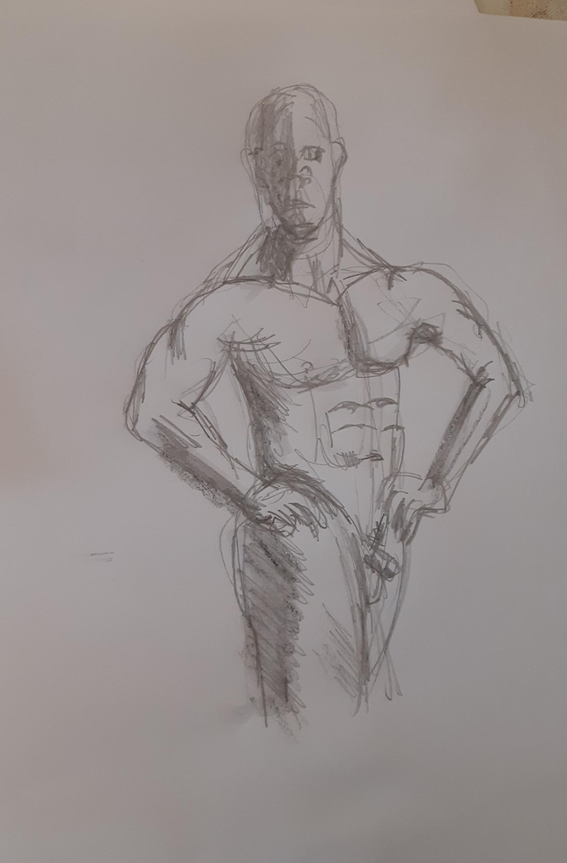 Esquisse homme 3/4 face crayon papier graphite  cours de dessin