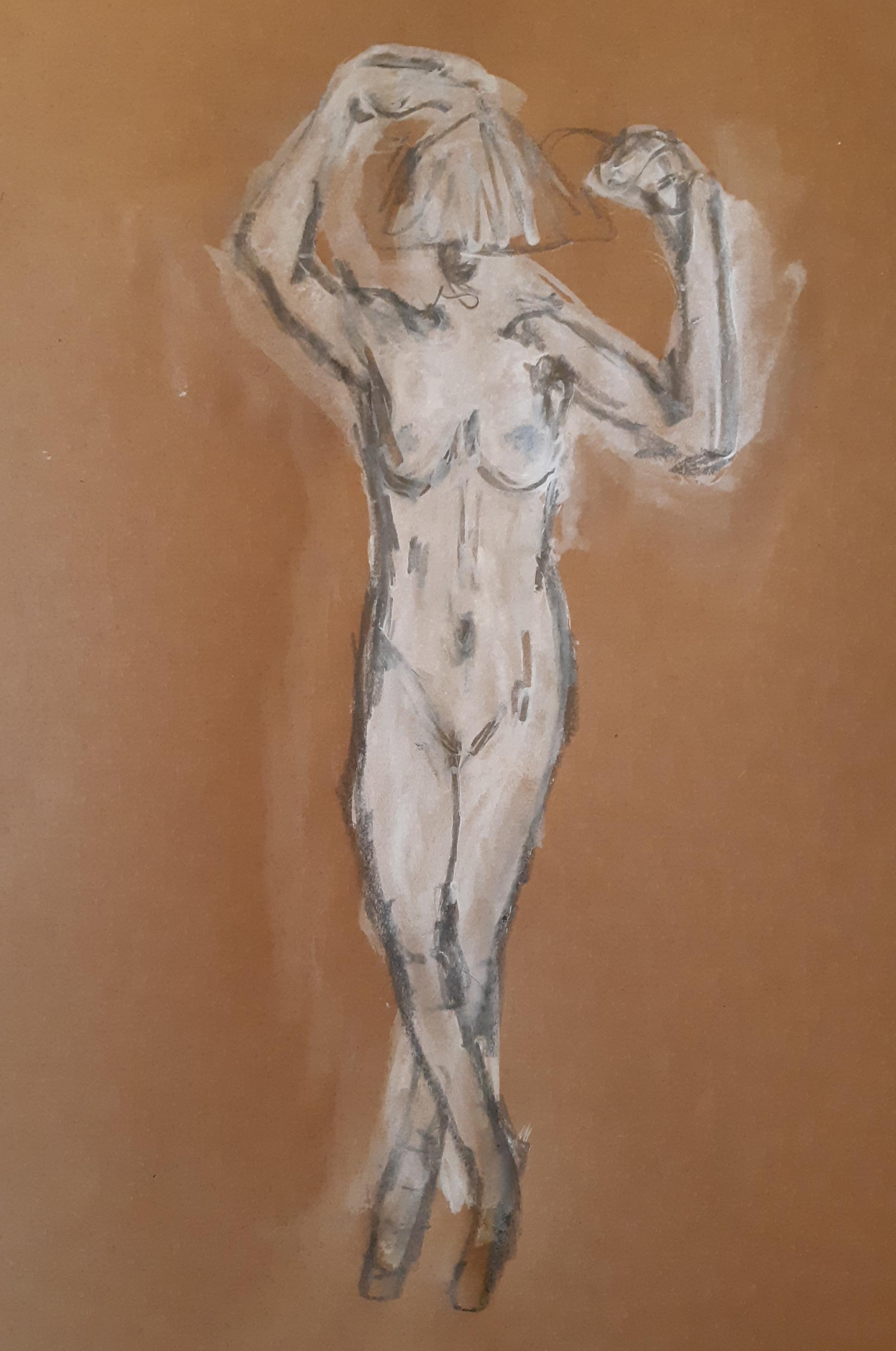 Technique mixte peinture blanche sur fond marron avec feutre noir  cours de dessin