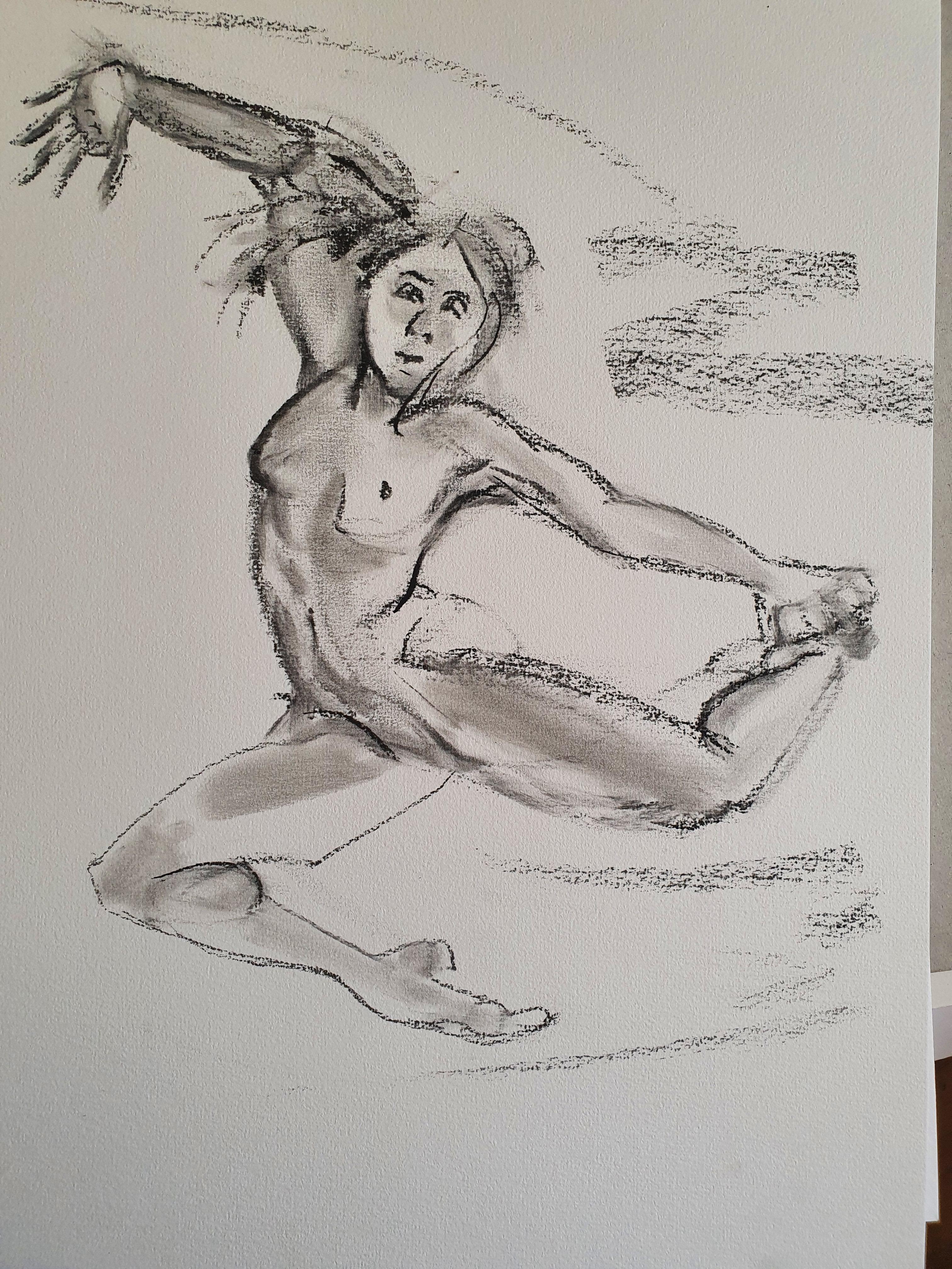 Dessin fusain danseuse face saut extension  cours de dessin