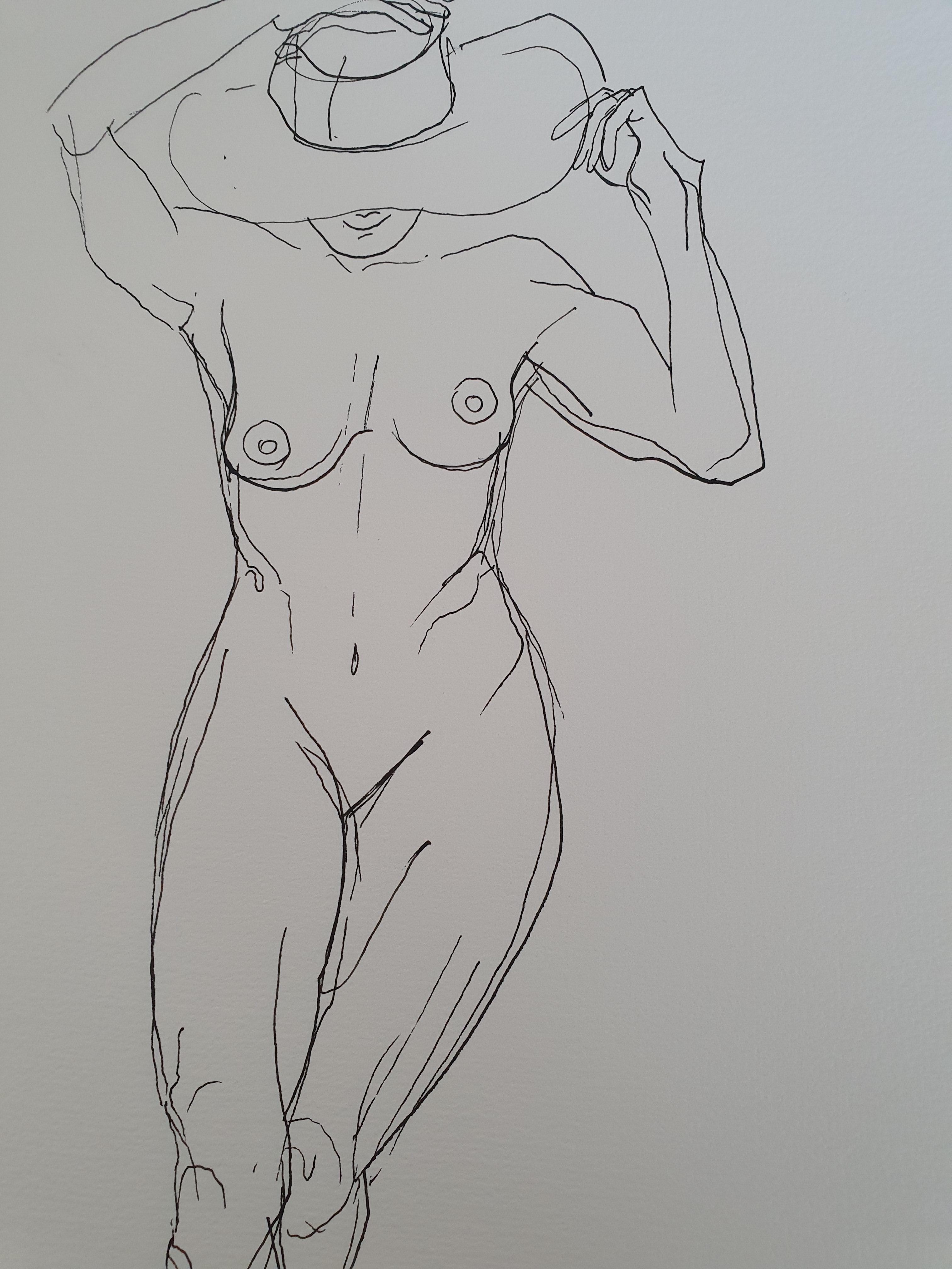 Dessin au trait femmes face avec chapeau  cours de dessin