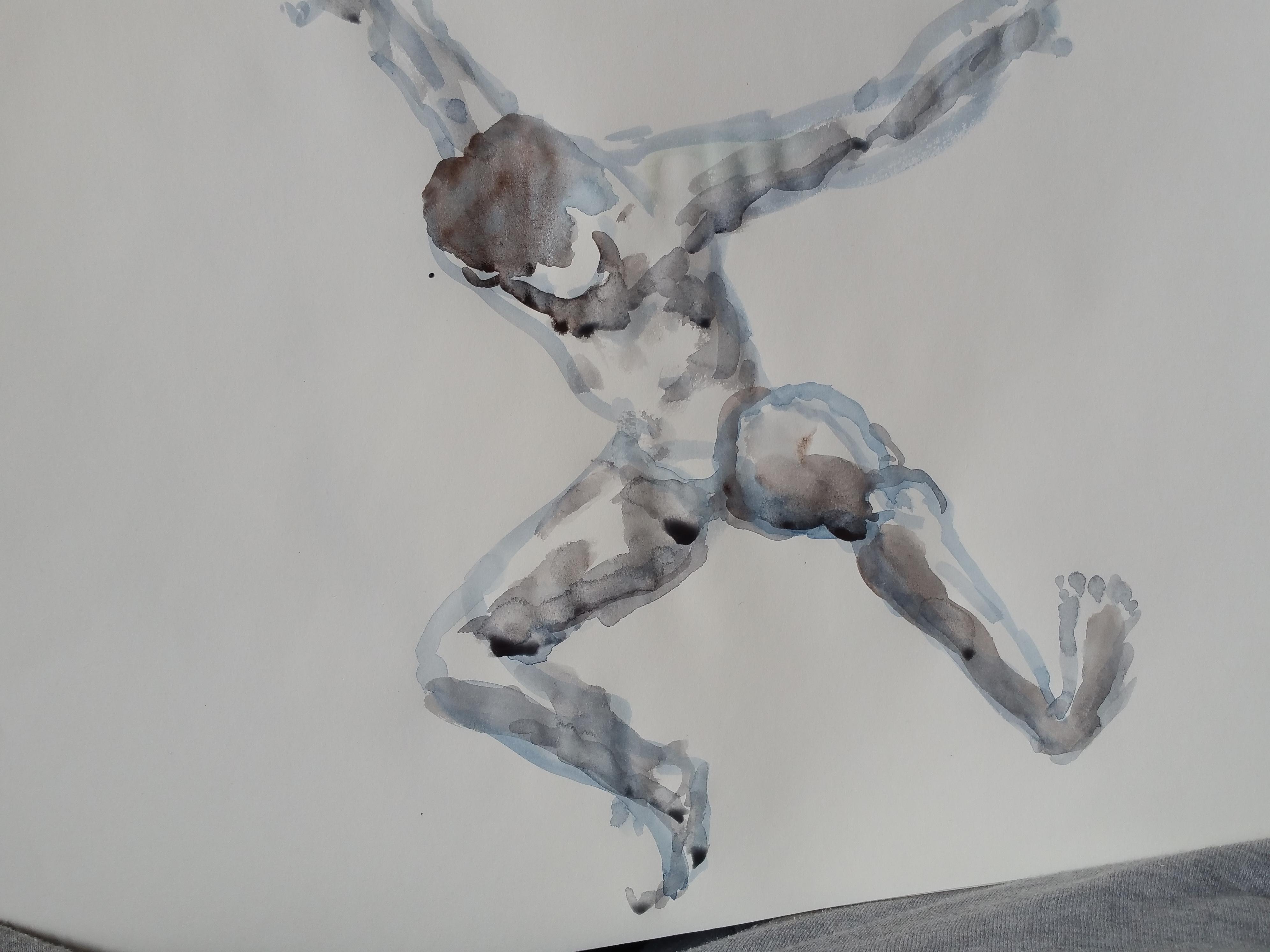 Aquarelle bicolore homme face  cours de dessin