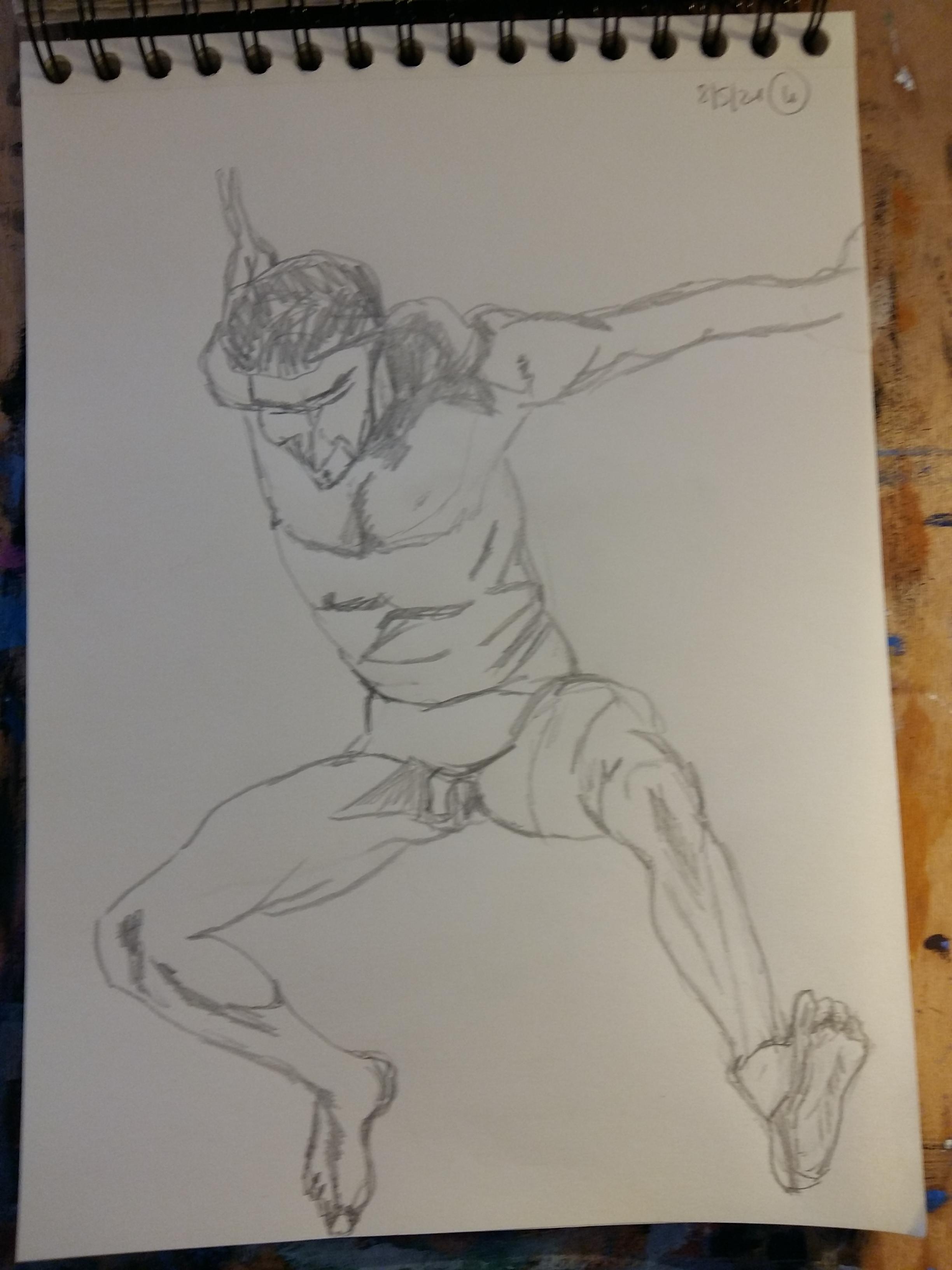 Dessin homme de face en extension avec raccourci graphique sur papier  cours de dessin
