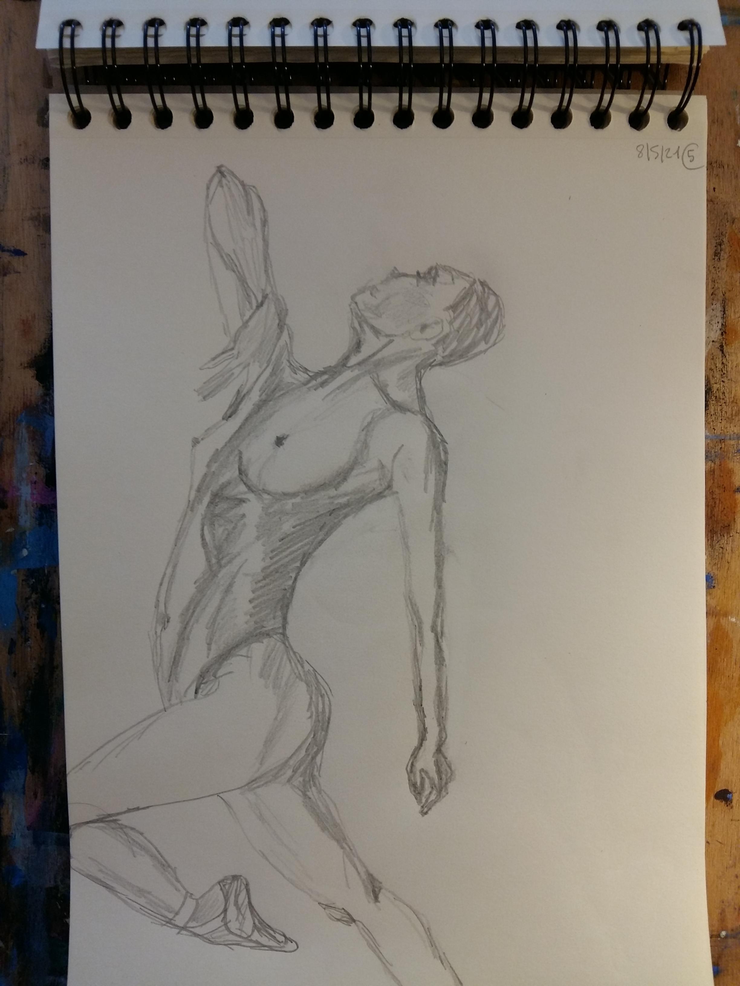 Dessin profil esquisse graphite hachures format A4 carnet  cours de dessin