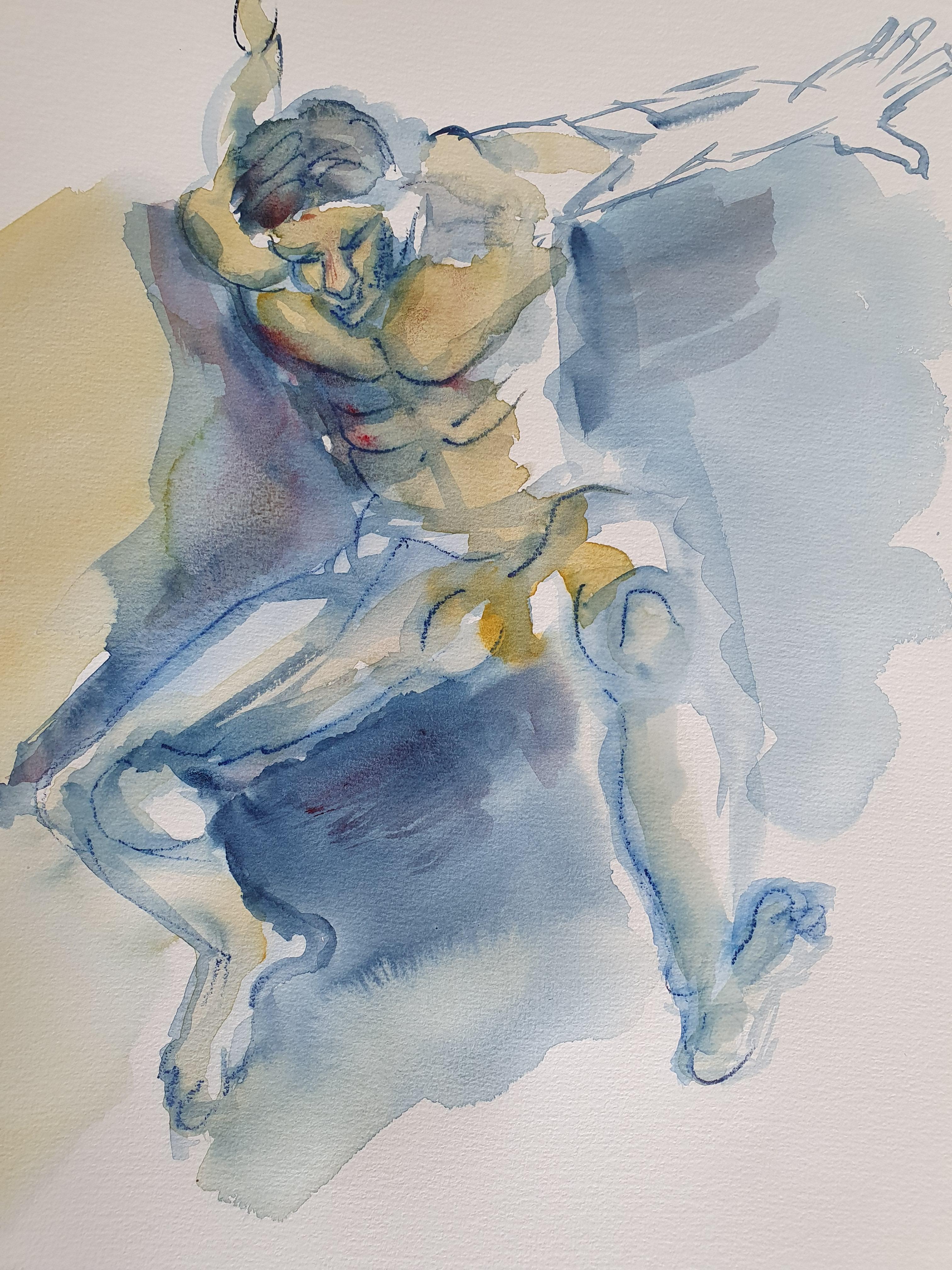 Dessin aquarelle chute homme face trois quarts  cours de dessin