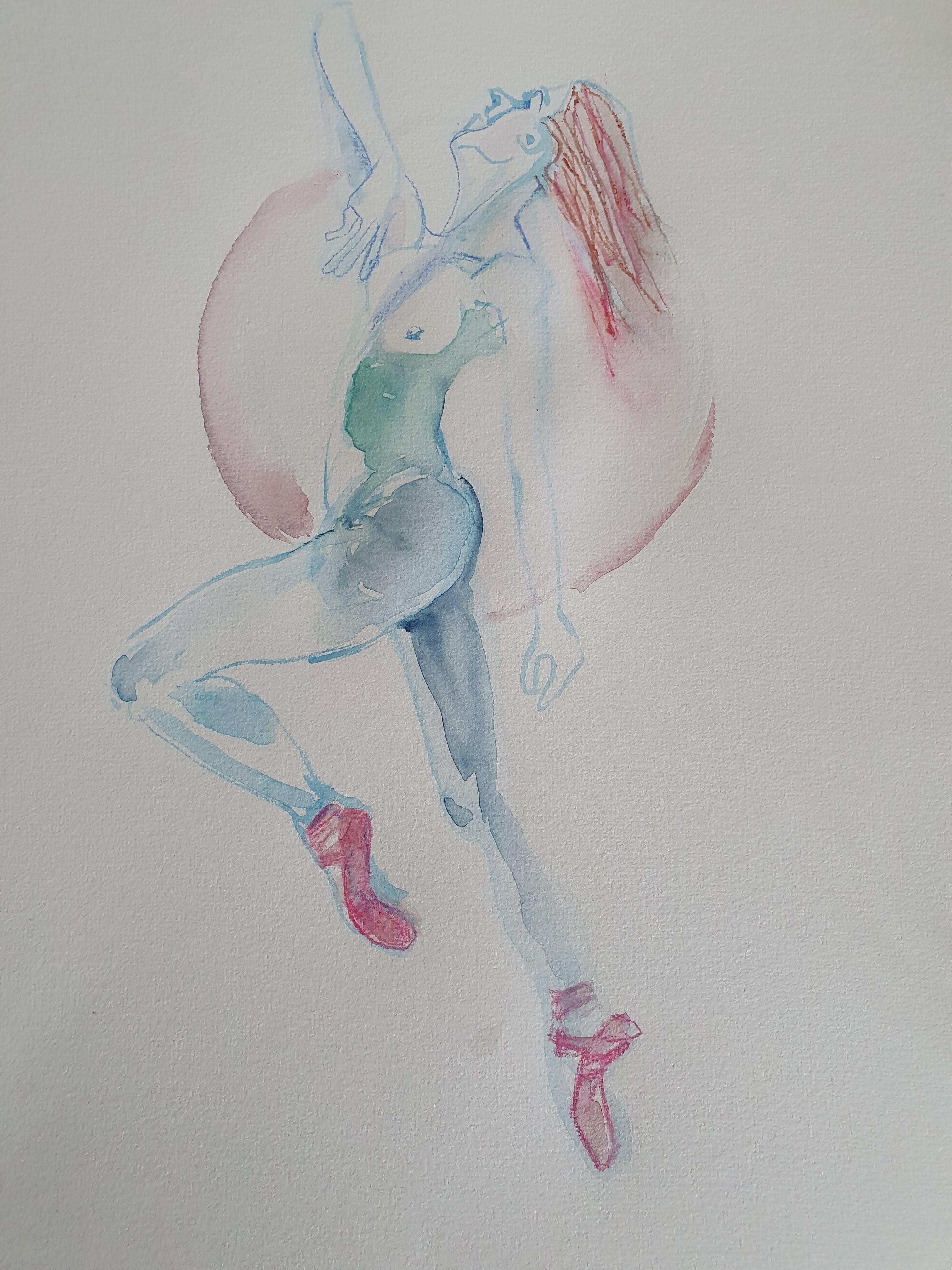 Dessin polychrome danseuse aquarelle transparent crayon de couleur  cours de dessin