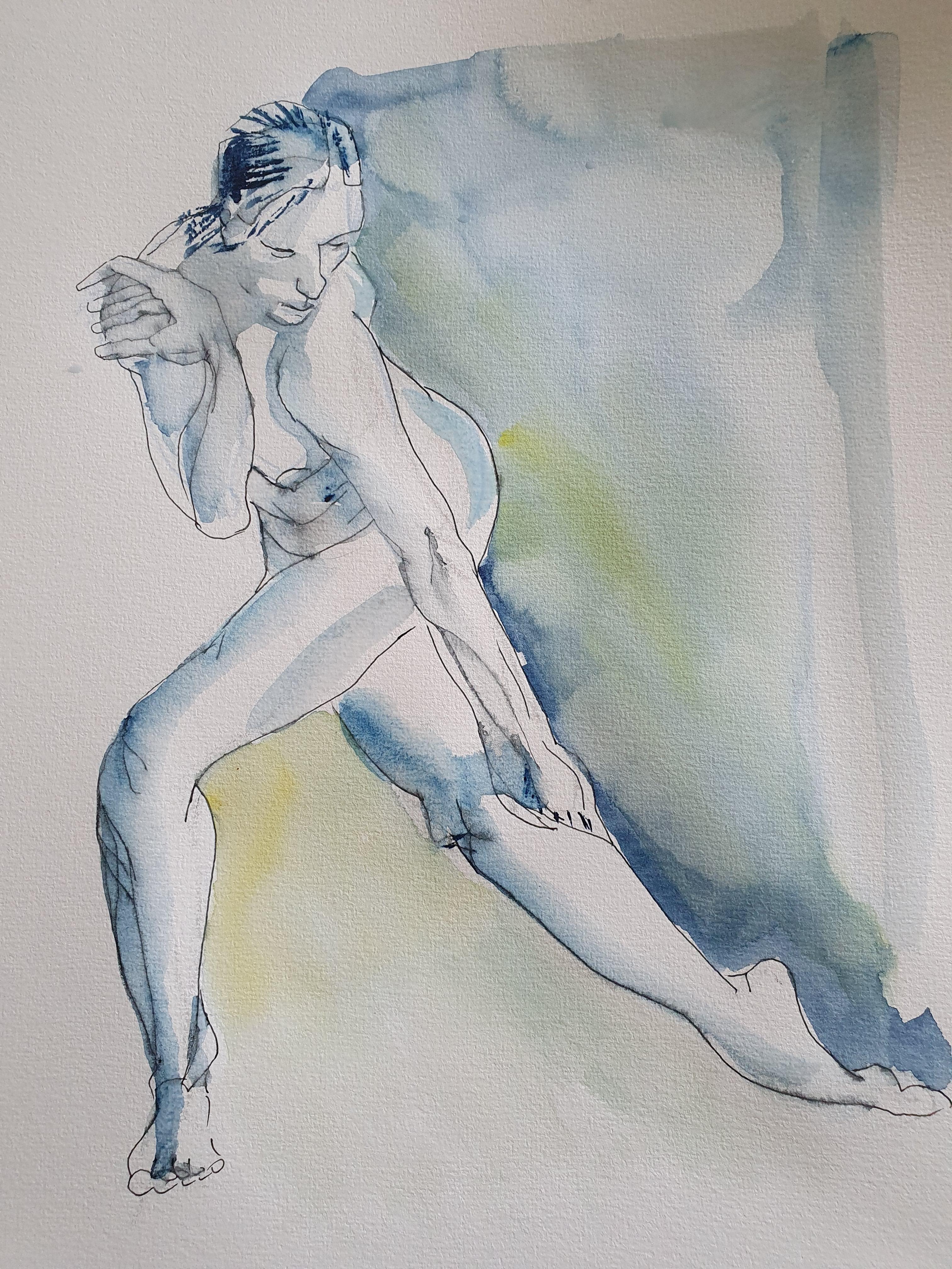 Technique mixte feutre aquarelle danseuse format raisin  cours de dessin