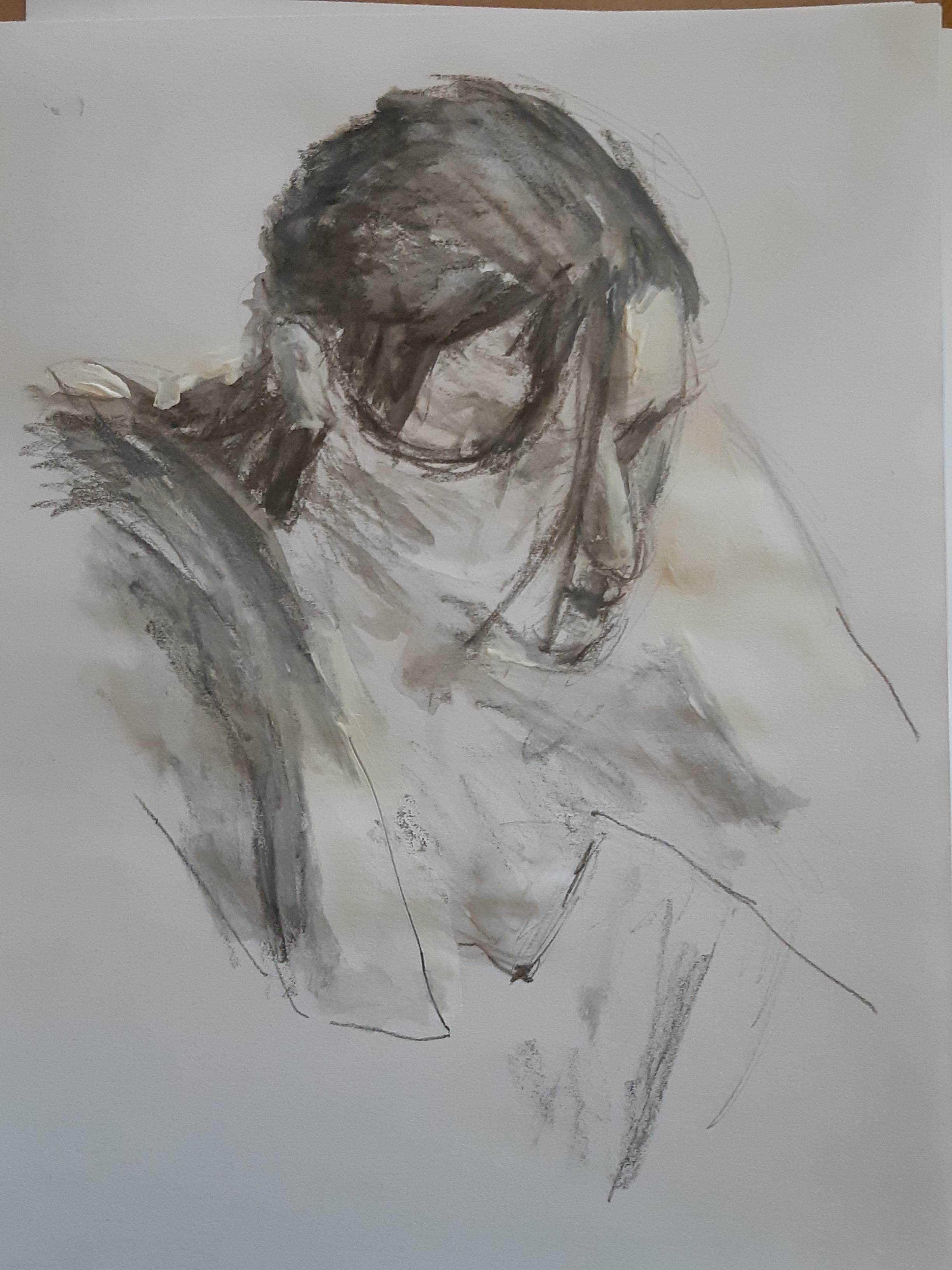 Portrait trois quarts face plongée fusain technique mixte peinture  cours de dessin