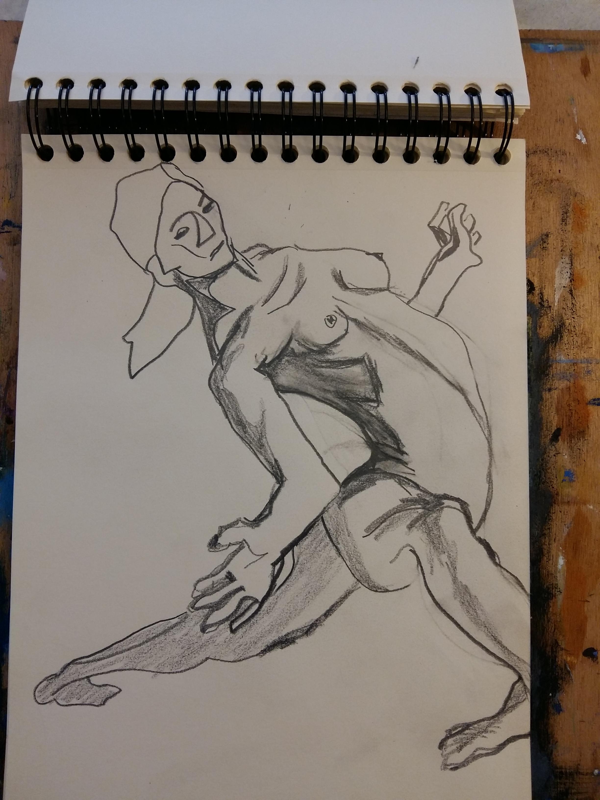 Dessin ligne à plat graphite danse  cours de dessin