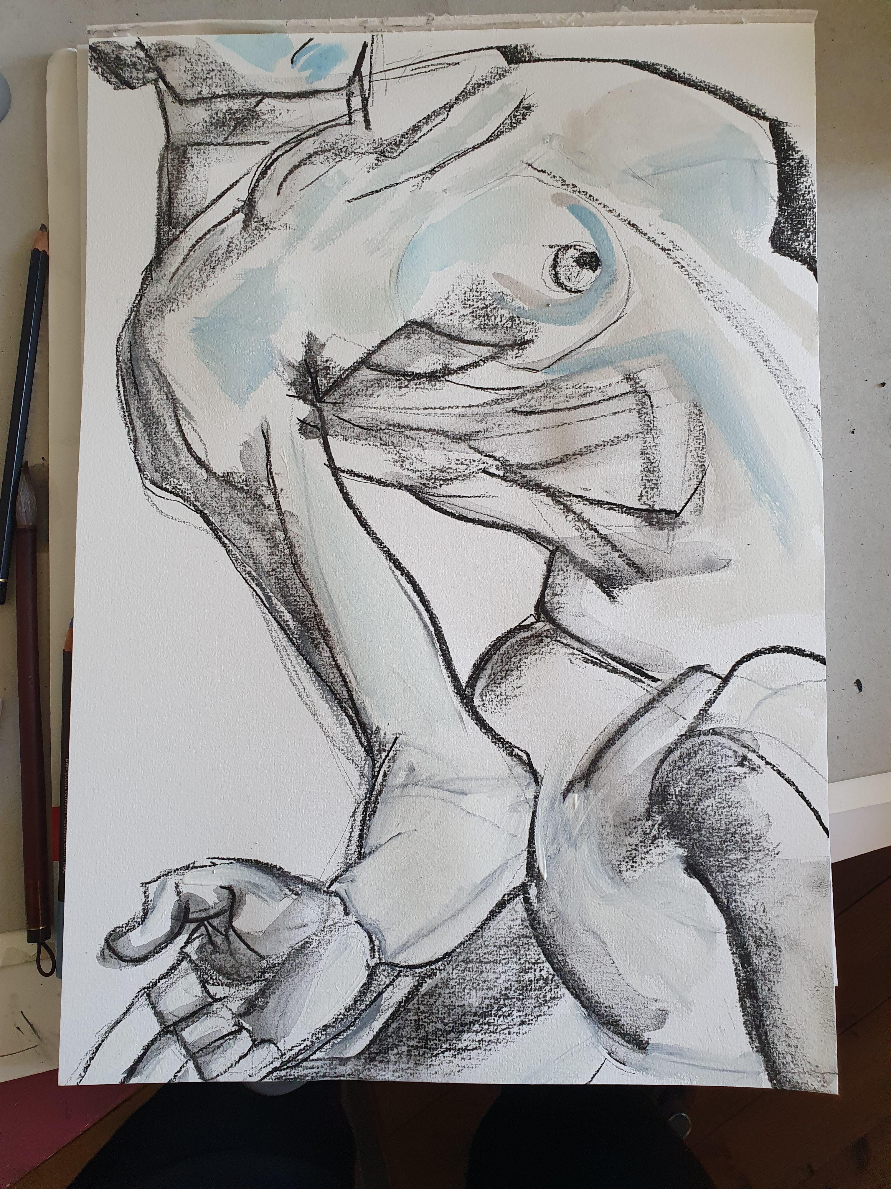 Composition cadrage grand format raisin fusain peinture feutre  cours de dessin