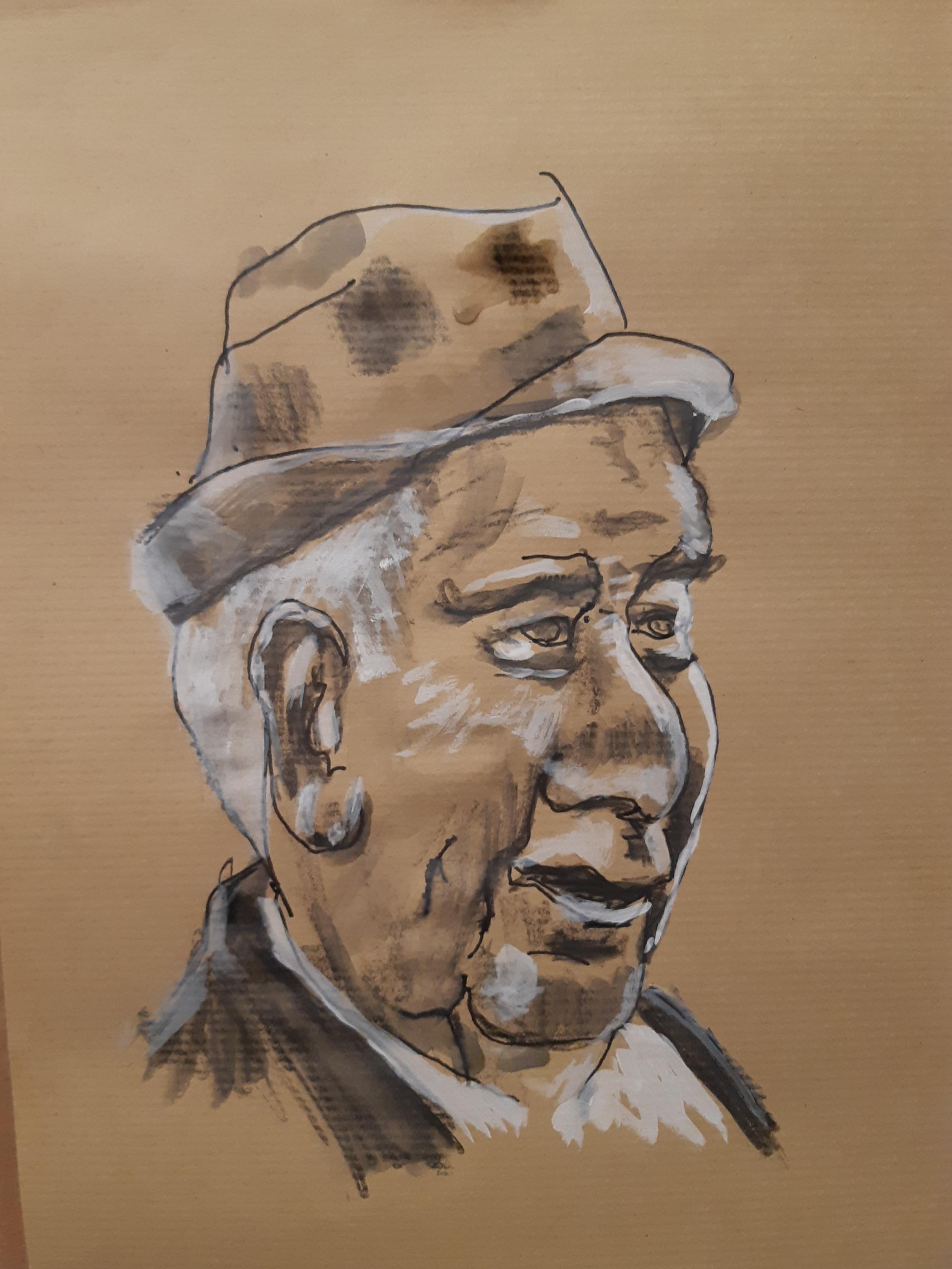 Portrait peinture blanche et brou de noix sur papier Kraft fusain  cours de dessin